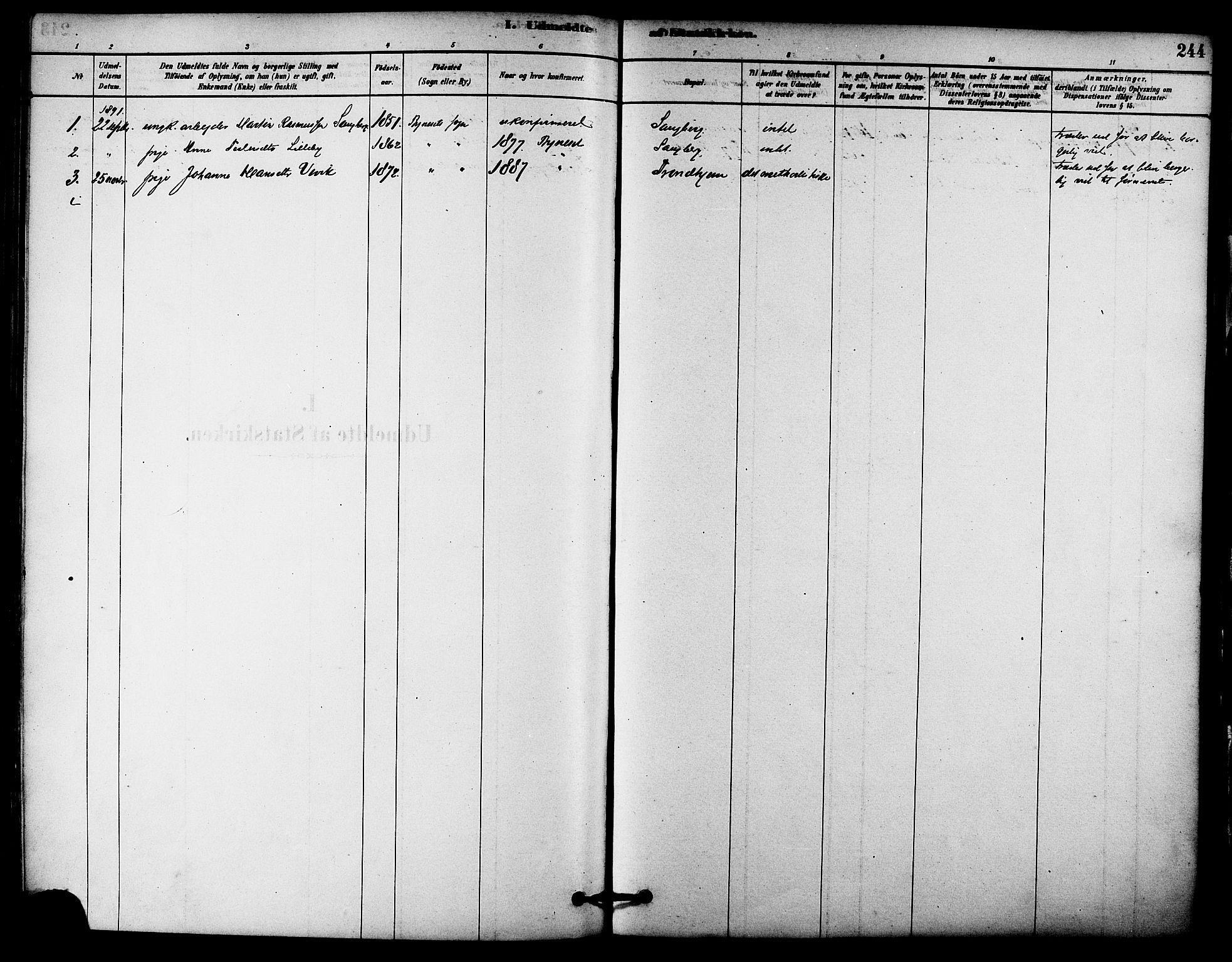SAT, Ministerialprotokoller, klokkerbøker og fødselsregistre - Sør-Trøndelag, 612/L0378: Ministerialbok nr. 612A10, 1878-1897, s. 244