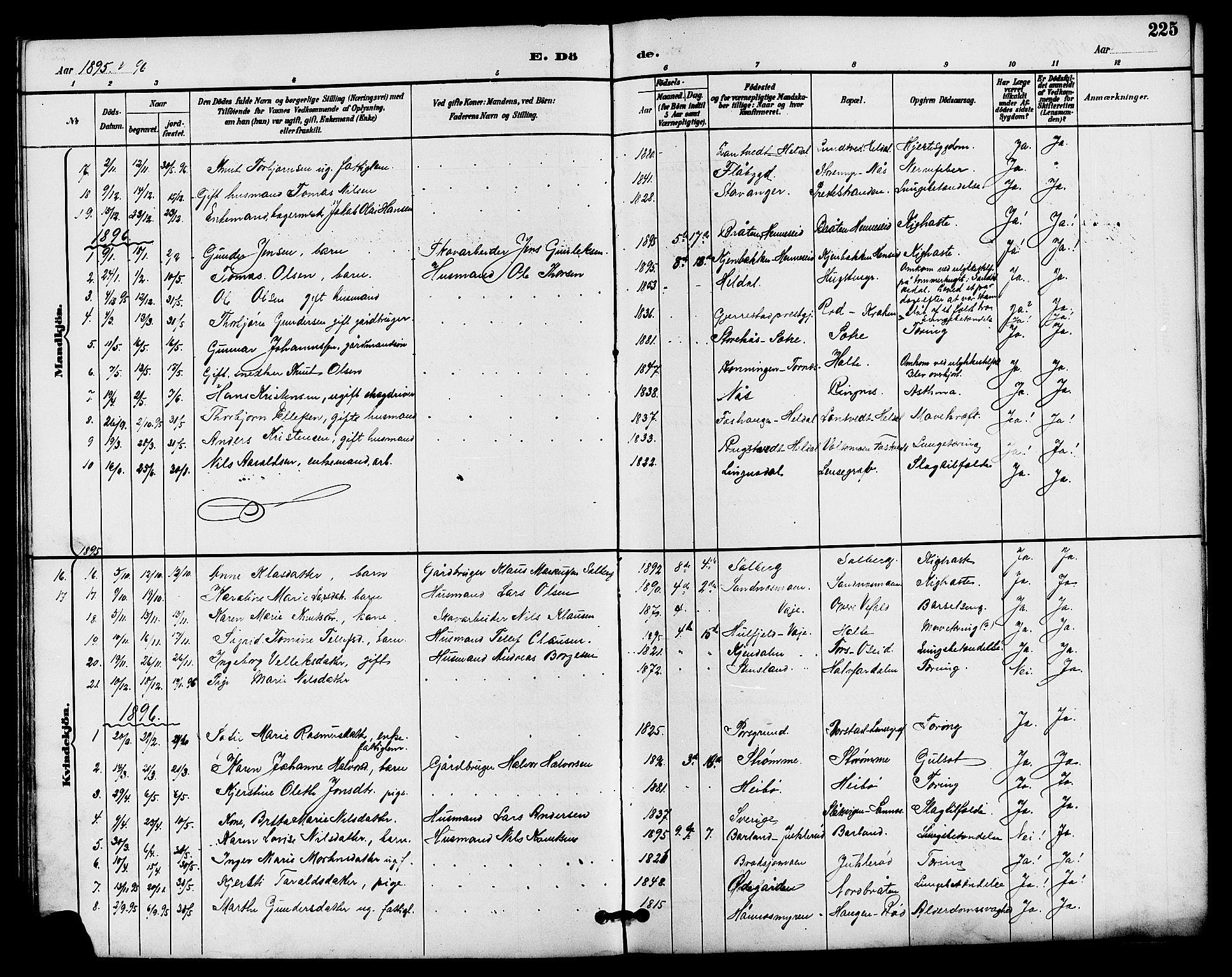 SAKO, Drangedal kirkebøker, G/Ga/L0003: Klokkerbok nr. I 3, 1887-1906, s. 225