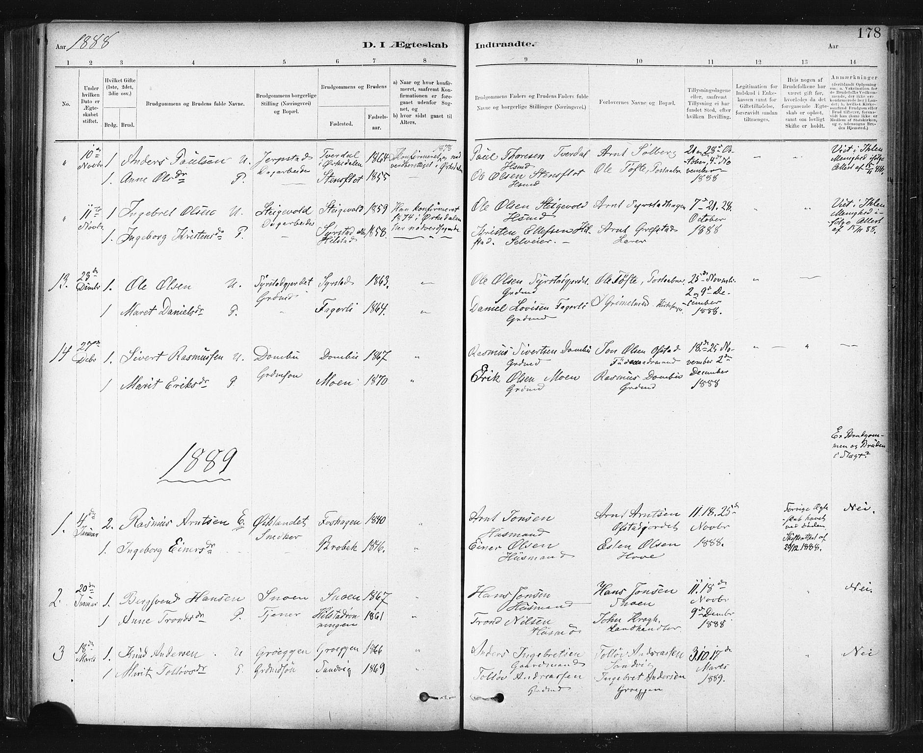 SAT, Ministerialprotokoller, klokkerbøker og fødselsregistre - Sør-Trøndelag, 672/L0857: Ministerialbok nr. 672A09, 1882-1893, s. 178