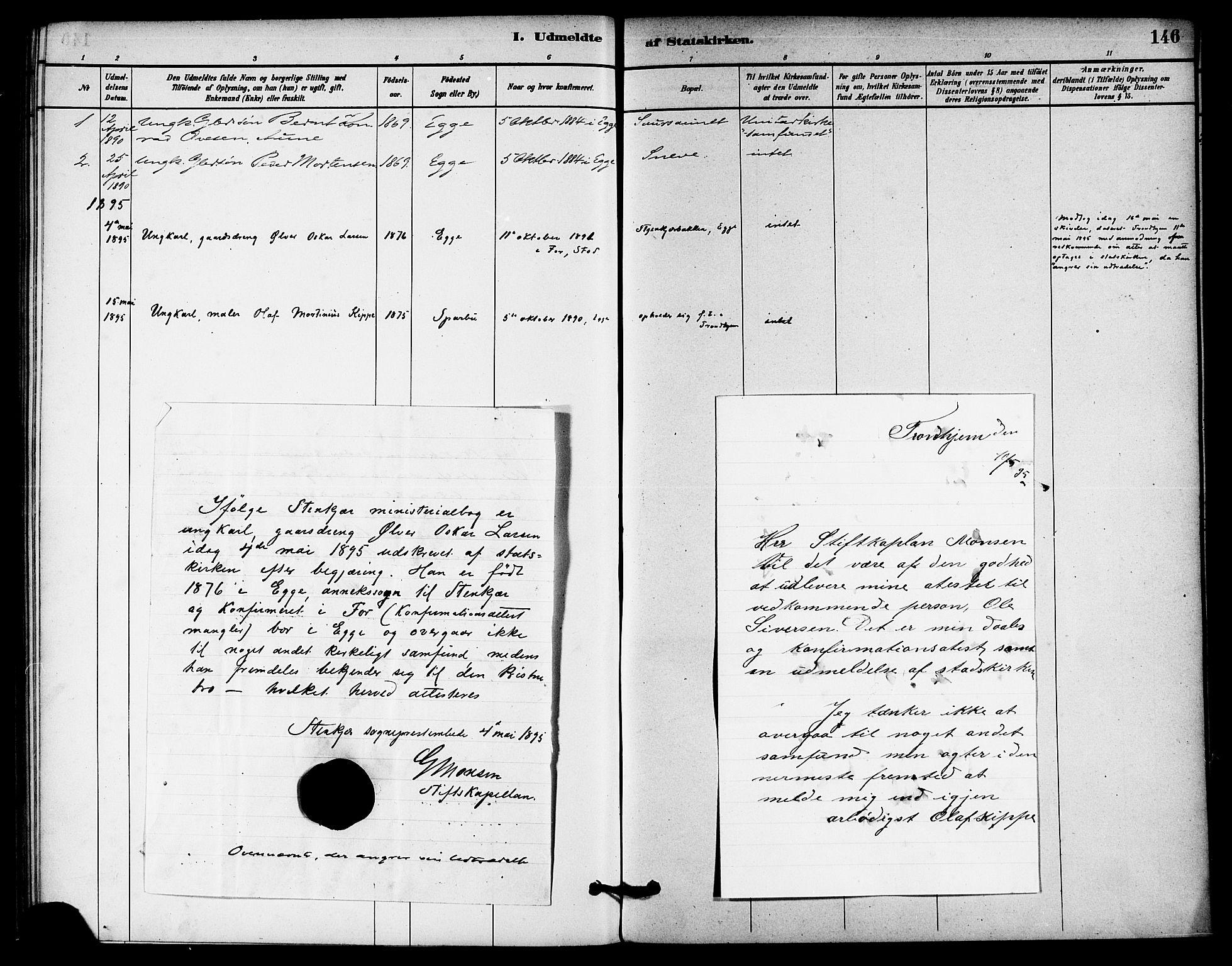 SAT, Ministerialprotokoller, klokkerbøker og fødselsregistre - Nord-Trøndelag, 740/L0378: Ministerialbok nr. 740A01, 1881-1895, s. 146