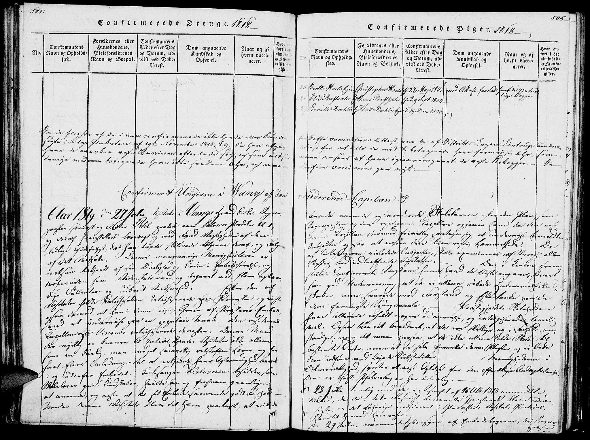 SAH, Vang prestekontor, Hedmark, H/Ha/Haa/L0007: Ministerialbok nr. 7, 1813-1826, s. 505-506