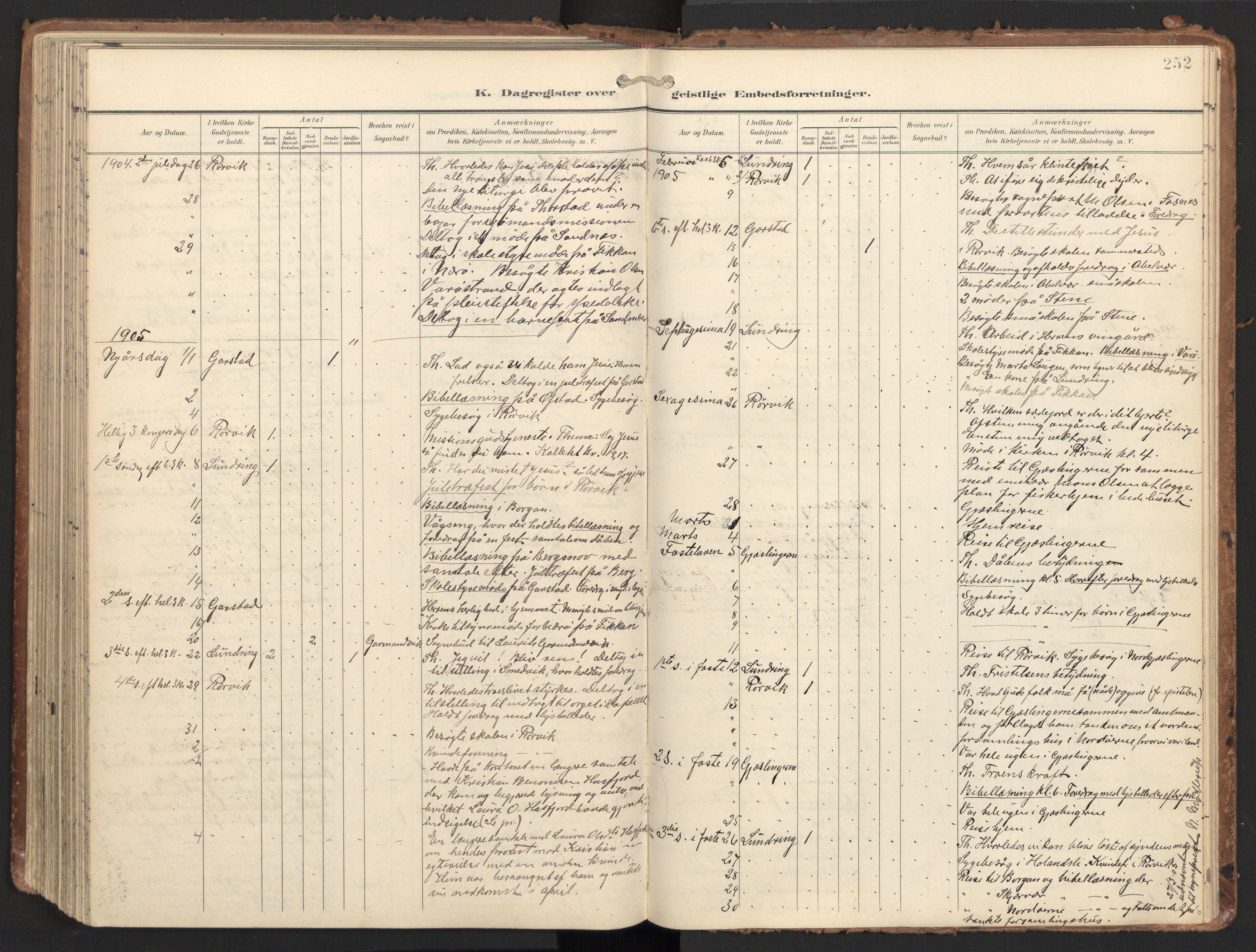 SAT, Ministerialprotokoller, klokkerbøker og fødselsregistre - Nord-Trøndelag, 784/L0677: Ministerialbok nr. 784A12, 1900-1920, s. 252