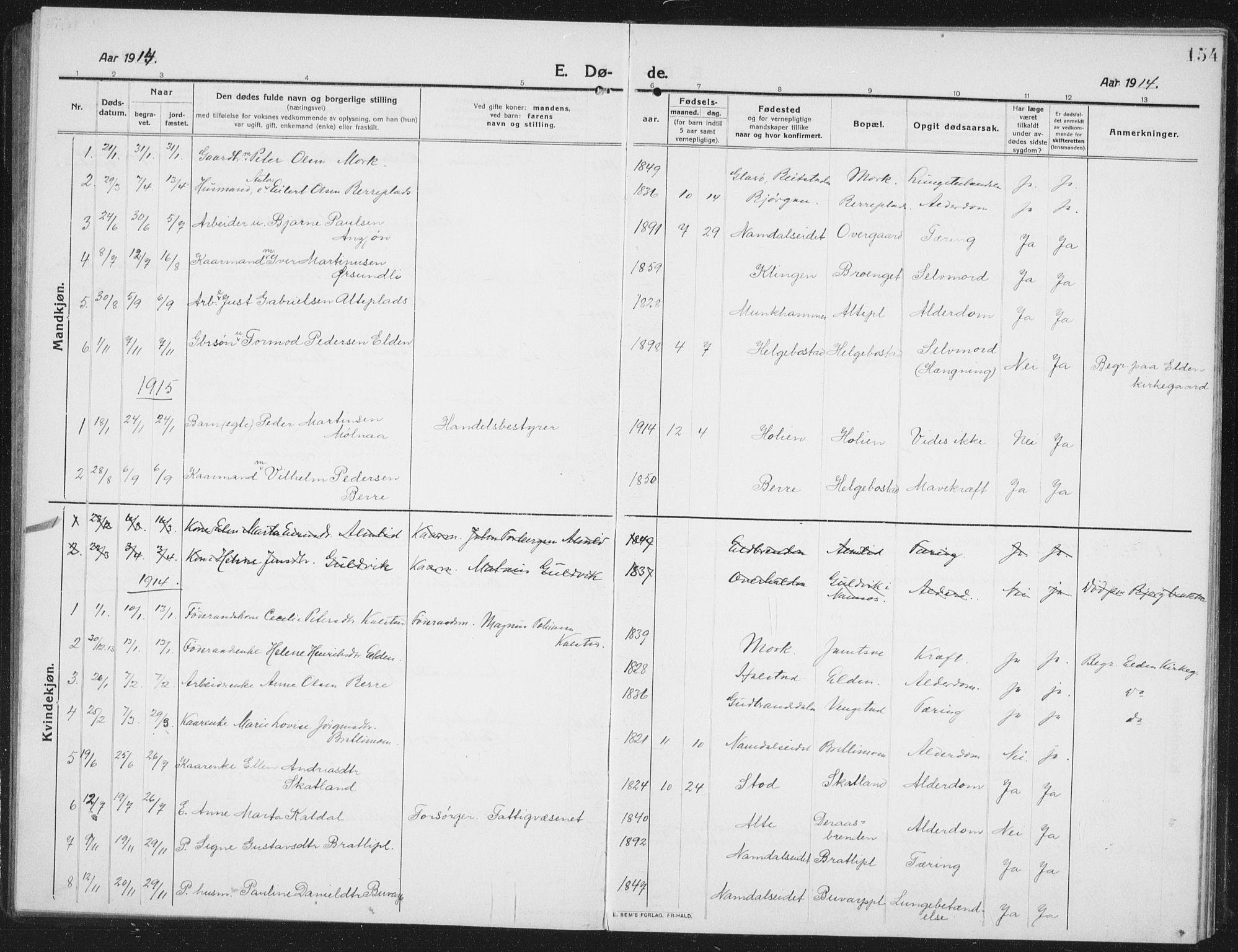 SAT, Ministerialprotokoller, klokkerbøker og fødselsregistre - Nord-Trøndelag, 742/L0413: Klokkerbok nr. 742C04, 1911-1938, s. 154