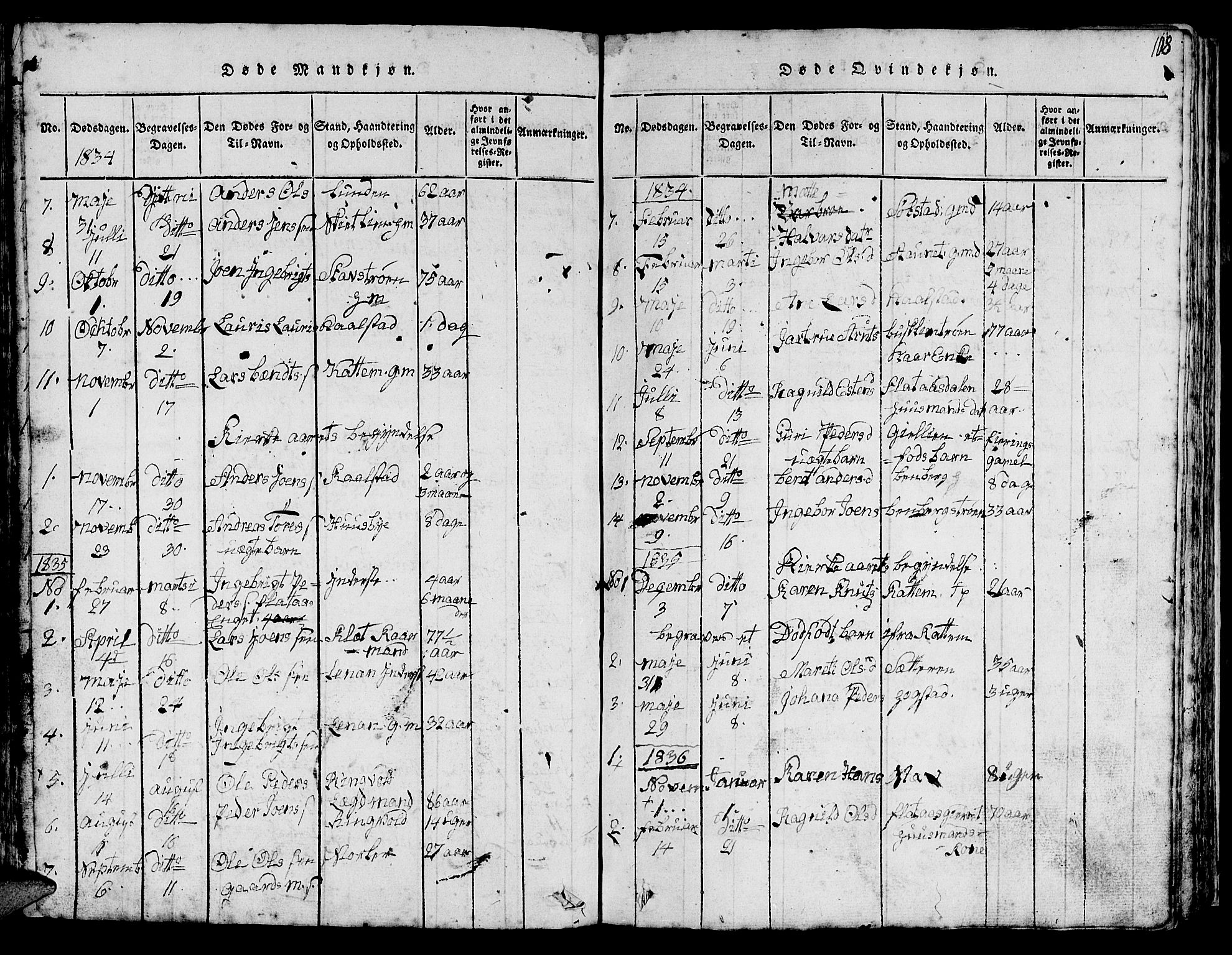 SAT, Ministerialprotokoller, klokkerbøker og fødselsregistre - Sør-Trøndelag, 613/L0393: Klokkerbok nr. 613C01, 1816-1886, s. 108