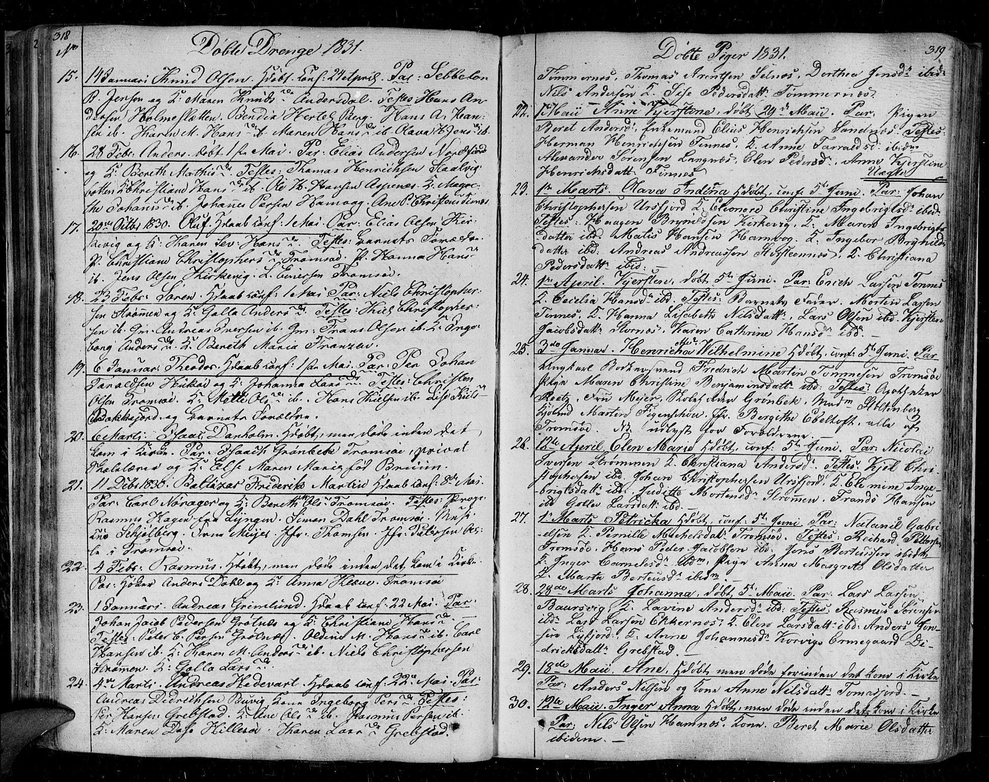 SATØ, Tromsø sokneprestkontor/stiftsprosti/domprosti, G/Ga/L0008kirke: Ministerialbok nr. 8, 1829-1837, s. 318-319