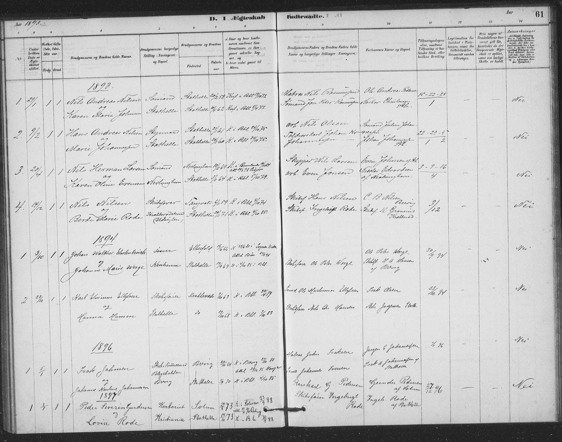 SAKO, Bamble kirkebøker, F/Fb/L0001: Ministerialbok nr. II 1, 1878-1899, s. 61