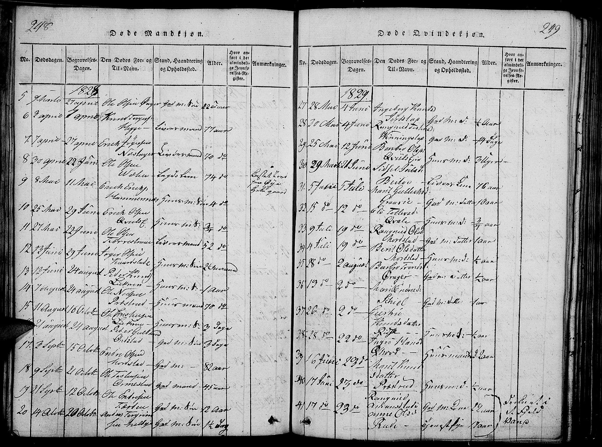 SAH, Slidre prestekontor, Ministerialbok nr. 2, 1814-1830, s. 248-249