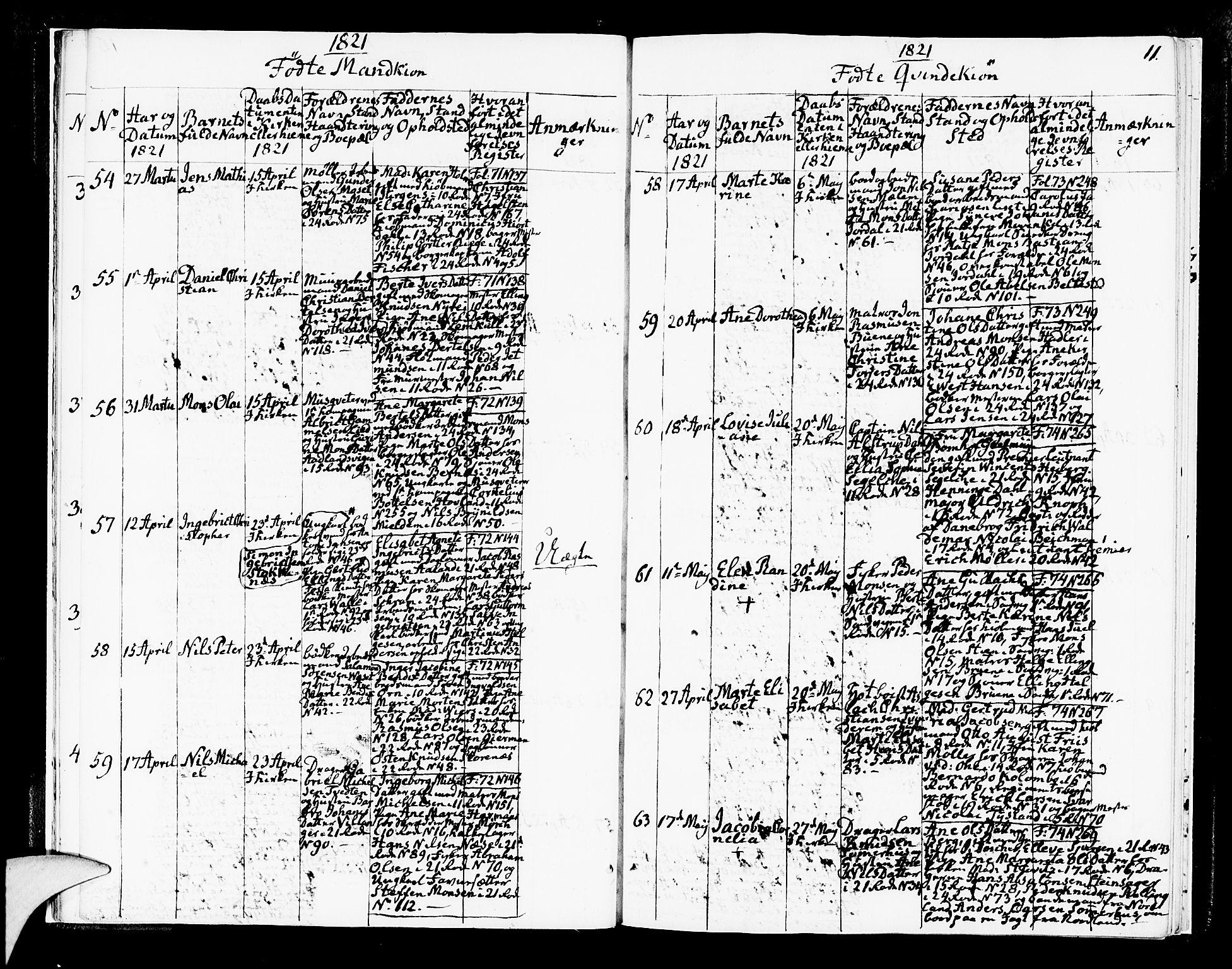 SAB, Korskirken Sokneprestembete, H/Hab: Klokkerbok nr. A 2, 1820-1832, s. 11