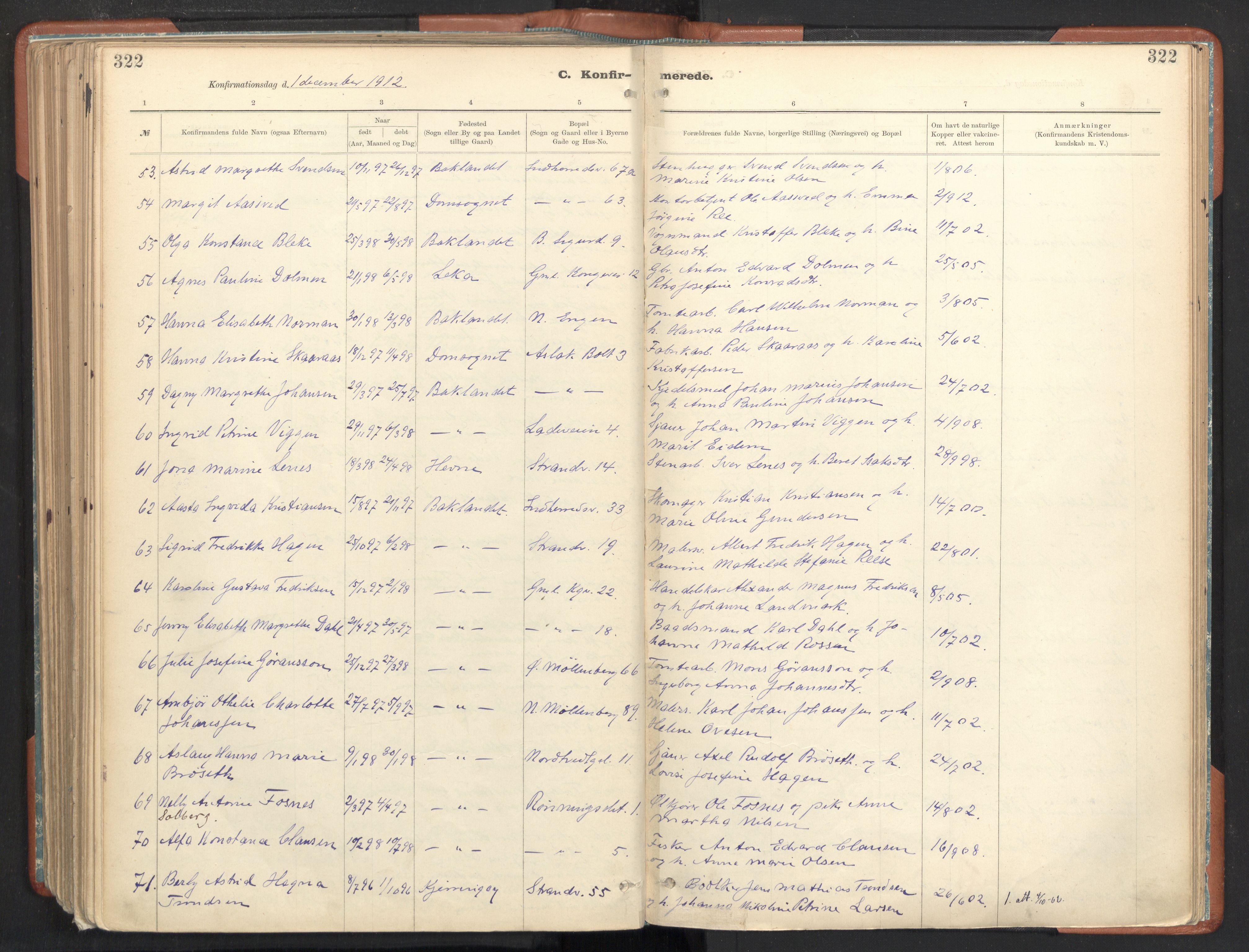 SAT, Ministerialprotokoller, klokkerbøker og fødselsregistre - Sør-Trøndelag, 605/L0243: Ministerialbok nr. 605A05, 1908-1923, s. 322