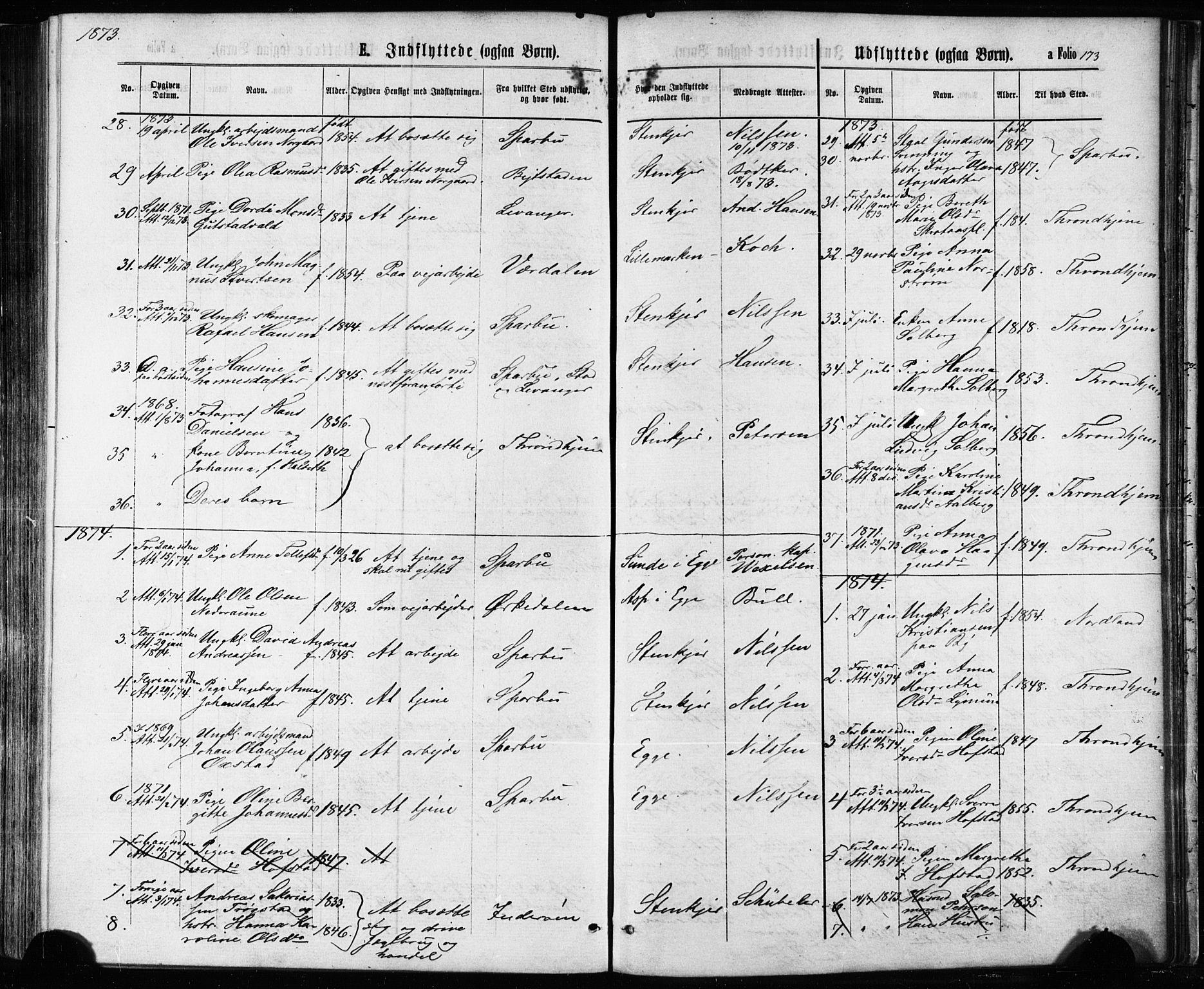 SAT, Ministerialprotokoller, klokkerbøker og fødselsregistre - Nord-Trøndelag, 739/L0370: Ministerialbok nr. 739A02, 1868-1881, s. 173