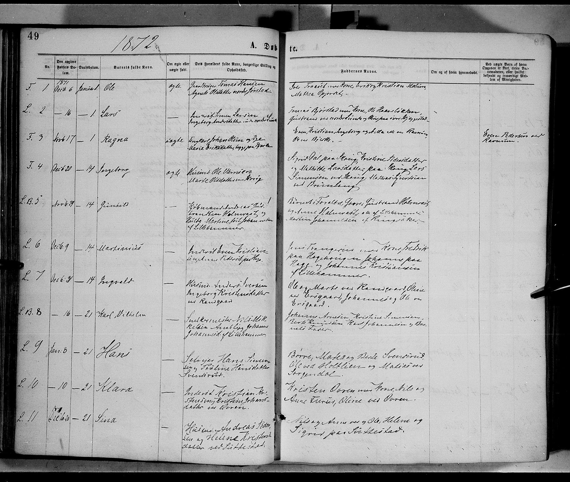 SAH, Fåberg prestekontor, Ministerialbok nr. 7, 1868-1878, s. 49