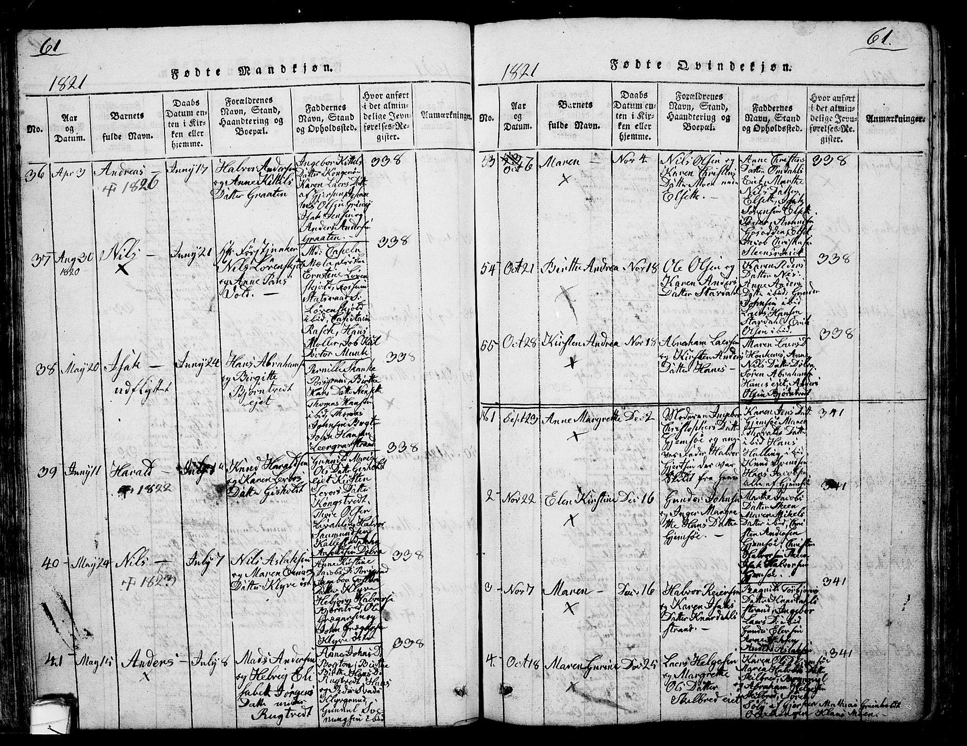 SAKO, Solum kirkebøker, G/Ga/L0001: Klokkerbok nr. I 1, 1814-1833, s. 61