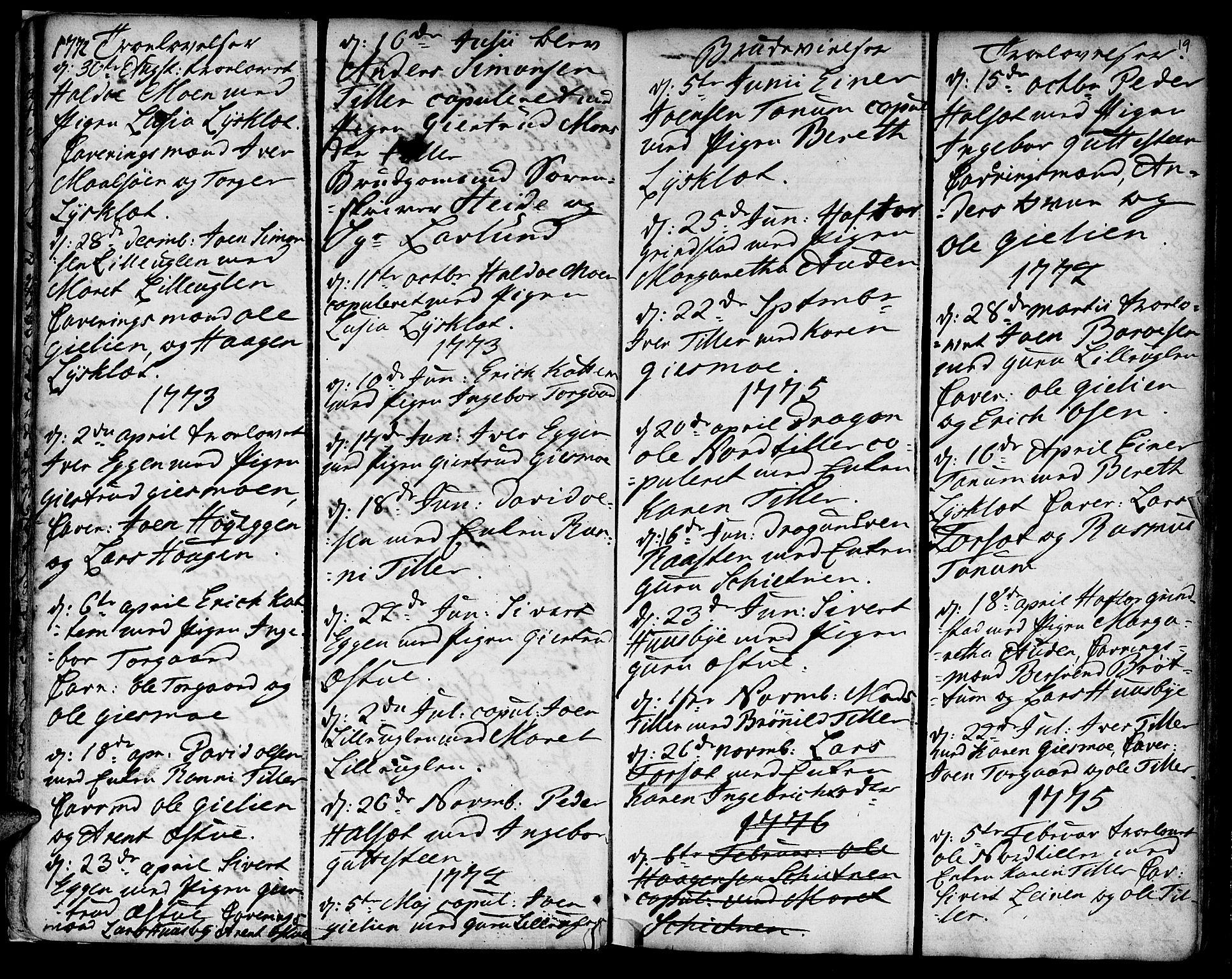 SAT, Ministerialprotokoller, klokkerbøker og fødselsregistre - Sør-Trøndelag, 618/L0437: Ministerialbok nr. 618A02, 1749-1782, s. 19