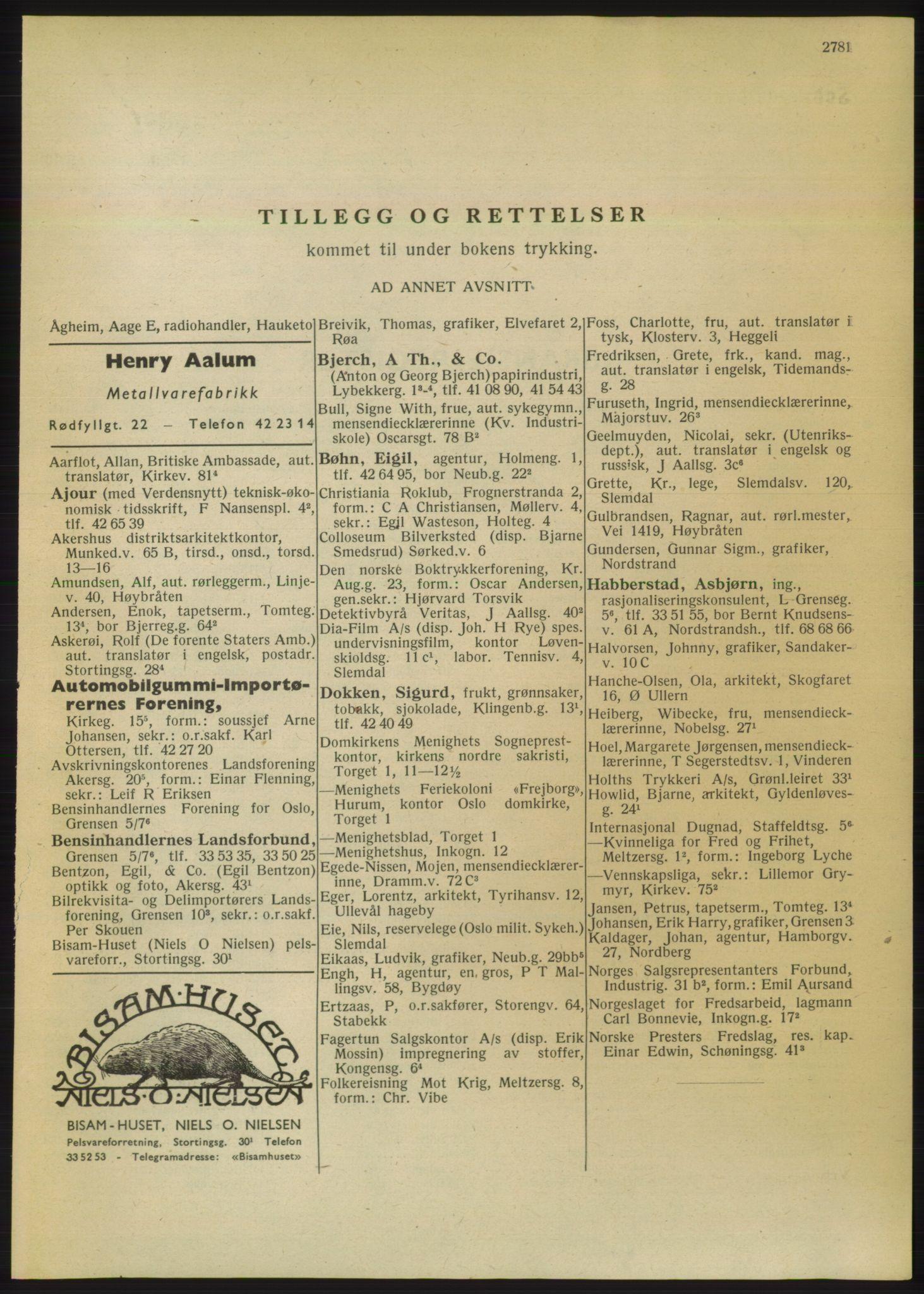 RA, Oslo adressebok (publikasjon)*, 1950, s. 2781