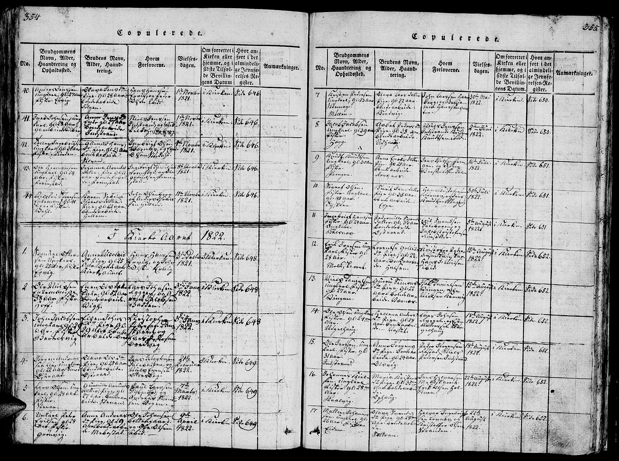SAT, Ministerialprotokoller, klokkerbøker og fødselsregistre - Sør-Trøndelag, 659/L0744: Klokkerbok nr. 659C01, 1818-1825, s. 354-355