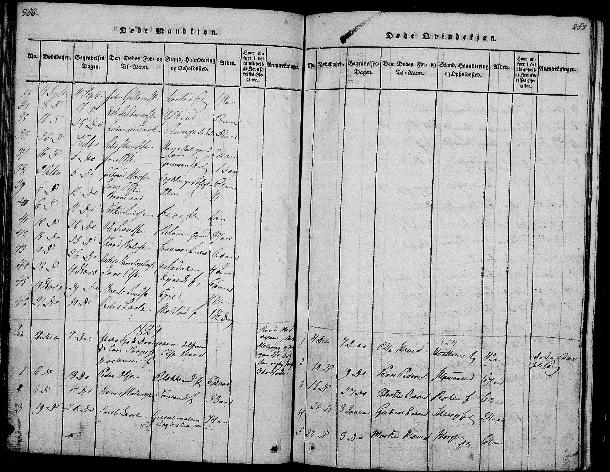 SAH, Gran prestekontor, Klokkerbok nr. 1, 1815-1824, s. 256-257