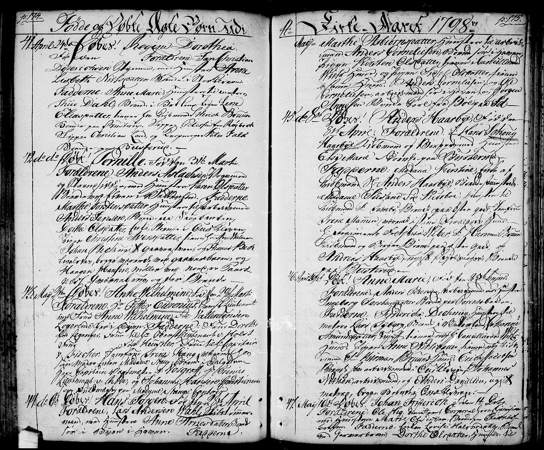 SAO, Halden prestekontor Kirkebøker, F/Fa/L0002: Ministerialbok nr. I 2, 1792-1812, s. 174-175