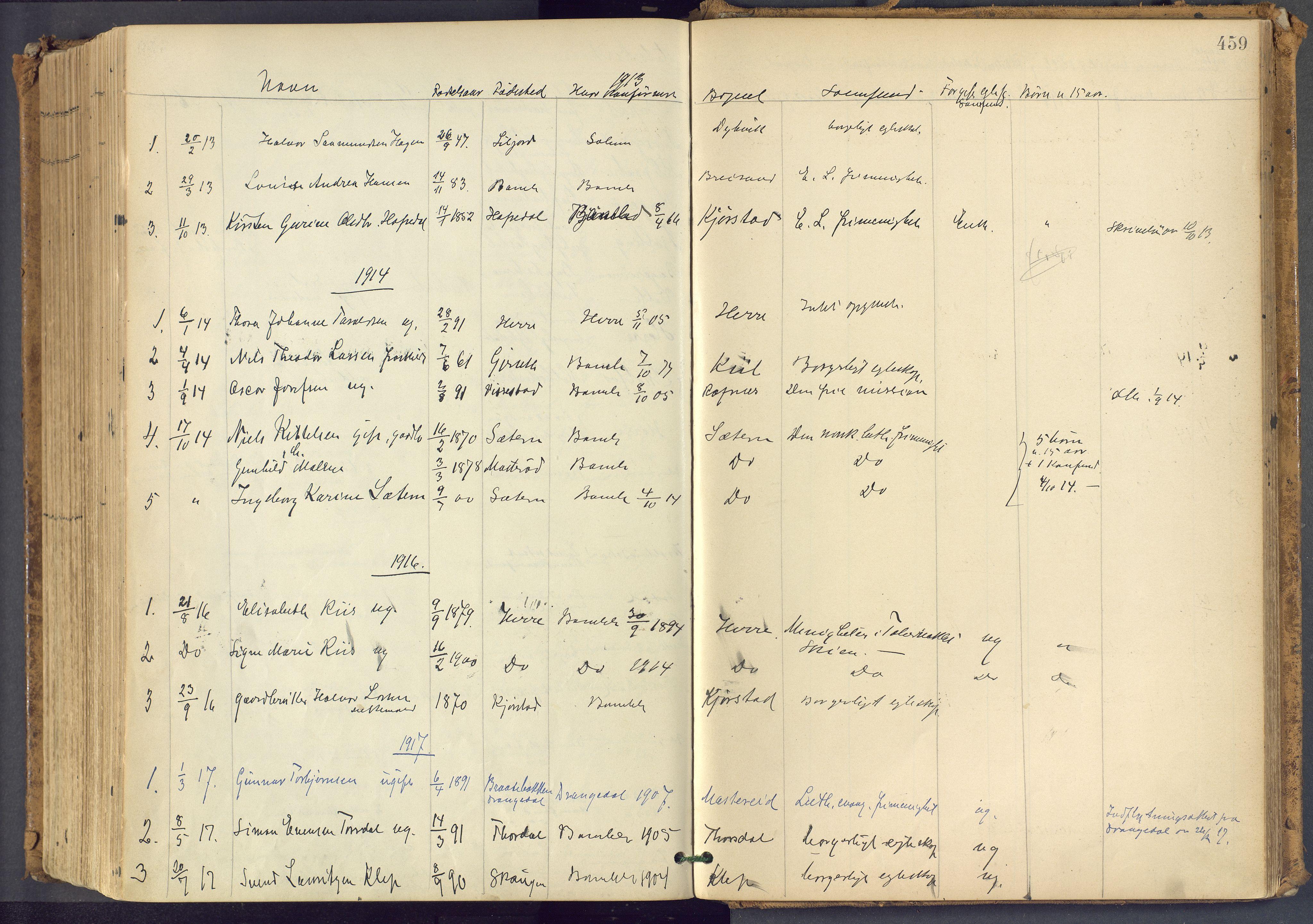 SAKO, Bamble kirkebøker, F/Fa/L0009: Ministerialbok nr. I 9, 1901-1917, s. 459