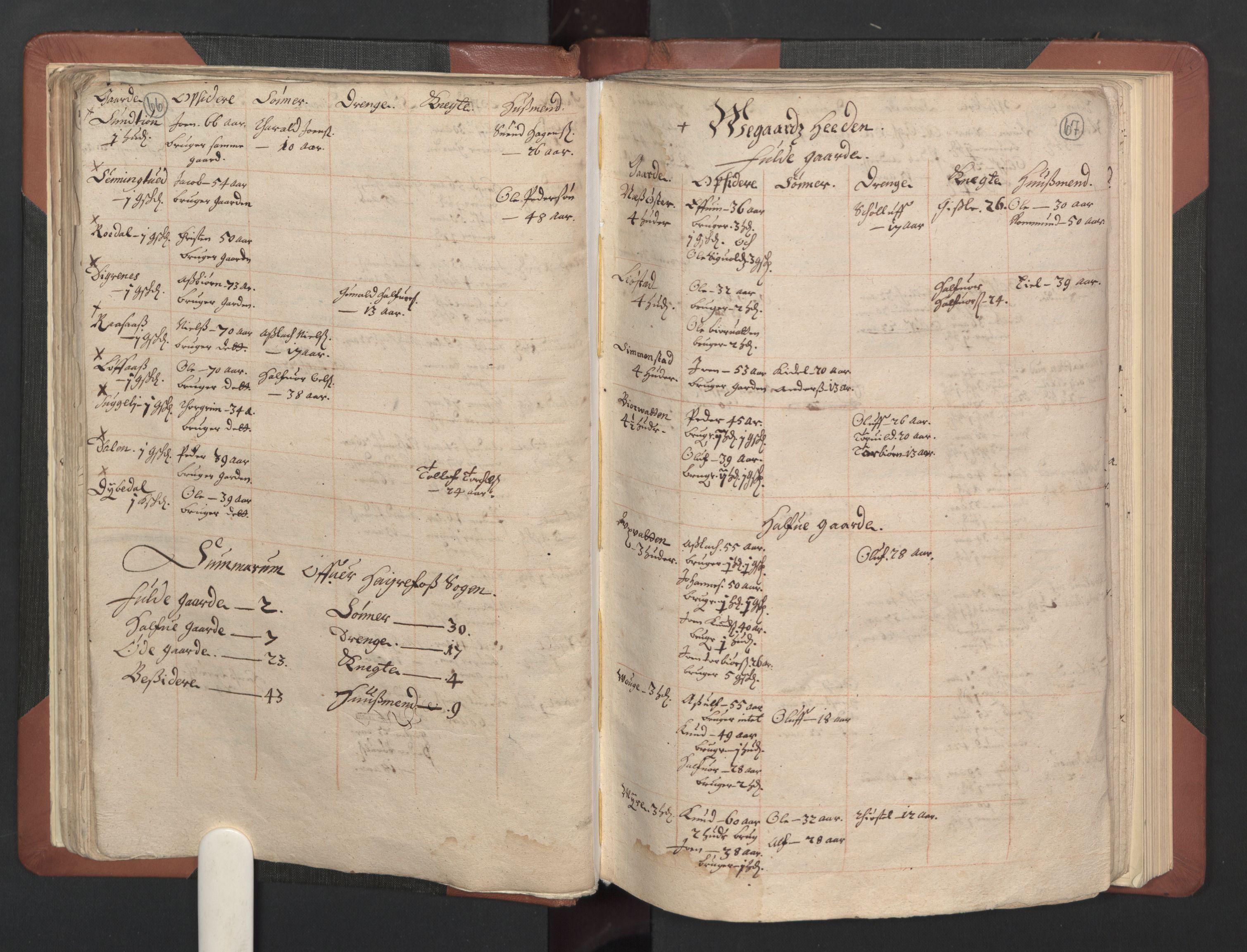 RA, Fogdenes og sorenskrivernes manntall 1664-1666, nr. 8: Råbyggelaget fogderi, 1664-1665, s. 66-67