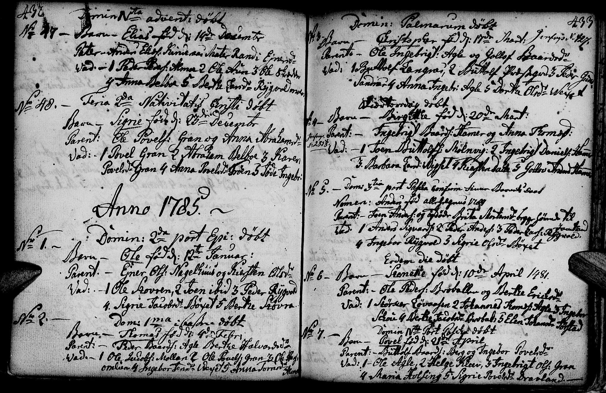 SAT, Ministerialprotokoller, klokkerbøker og fødselsregistre - Nord-Trøndelag, 749/L0467: Ministerialbok nr. 749A01, 1733-1787, s. 432-433