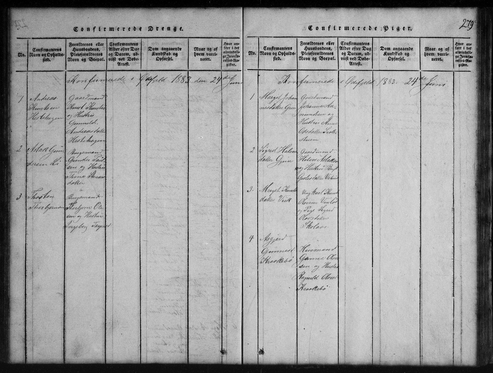 SAKO, Rauland kirkebøker, G/Gb/L0001: Klokkerbok nr. II 1, 1815-1886, s. 279