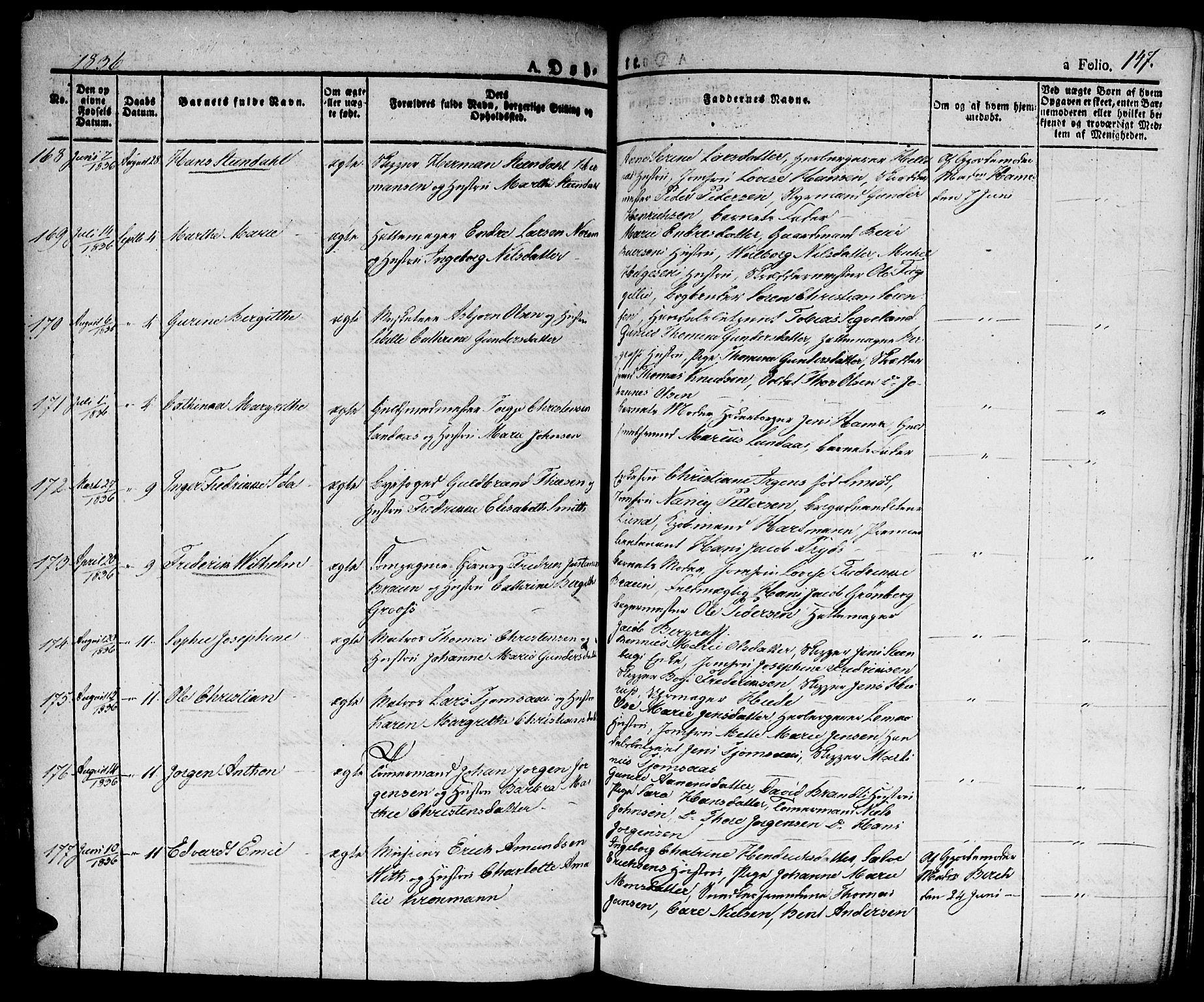 SAK, Kristiansand domprosti, F/Fa/L0011: Ministerialbok nr. A 11, 1827-1841, s. 147