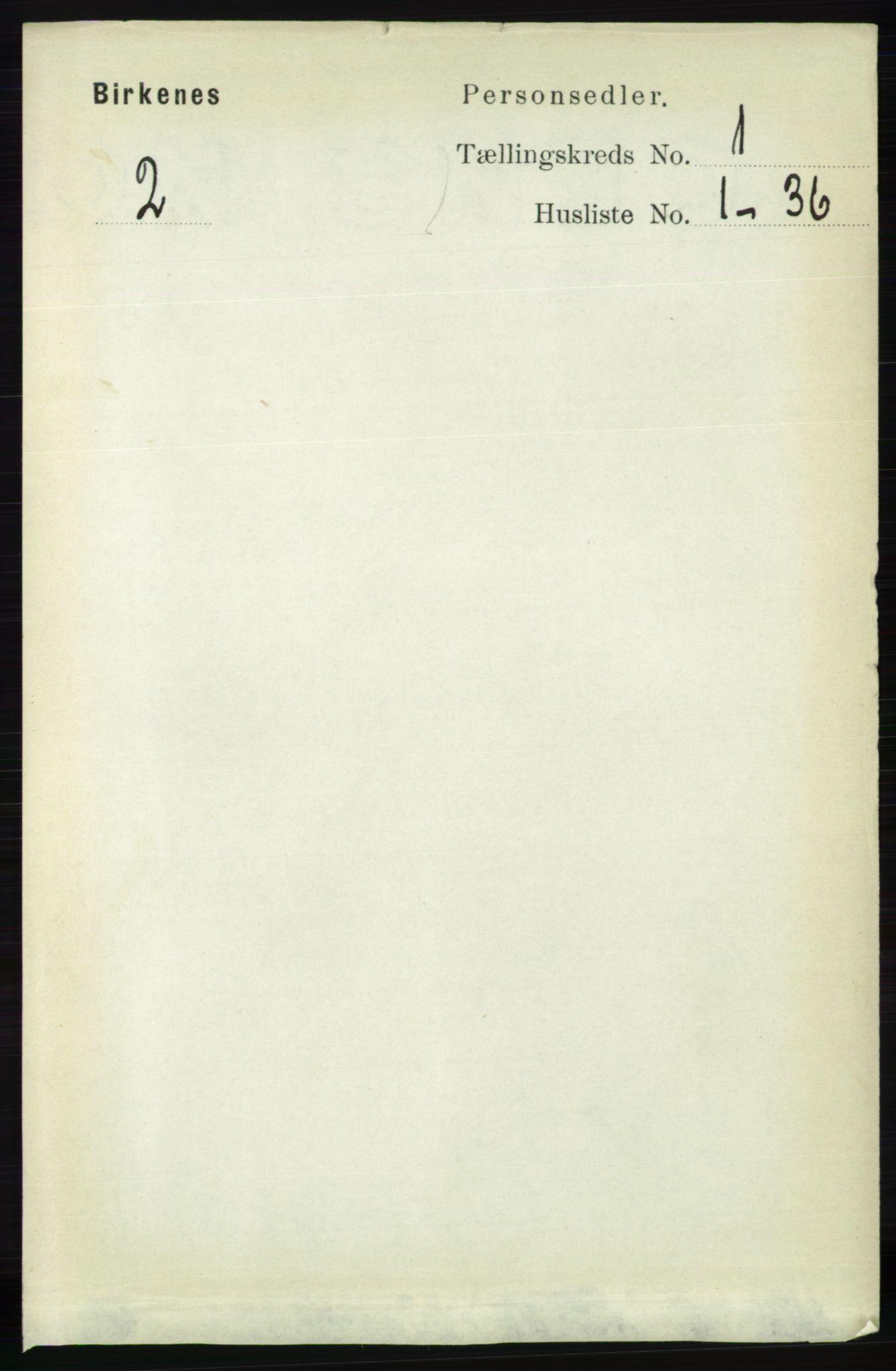 RA, Folketelling 1891 for 0928 Birkenes herred, 1891, s. 92