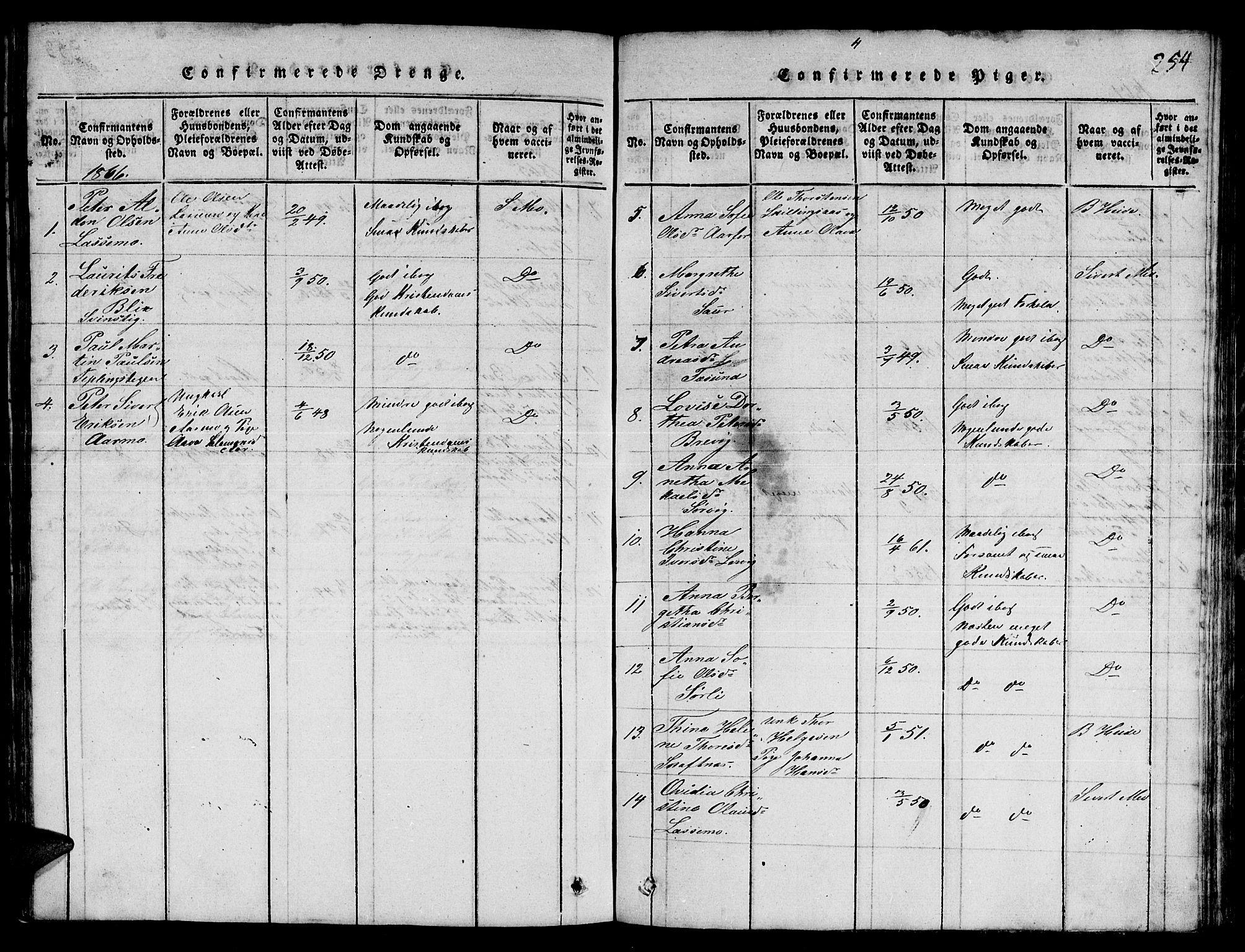 SAT, Ministerialprotokoller, klokkerbøker og fødselsregistre - Nord-Trøndelag, 780/L0648: Klokkerbok nr. 780C01 /3, 1815-1877, s. 254