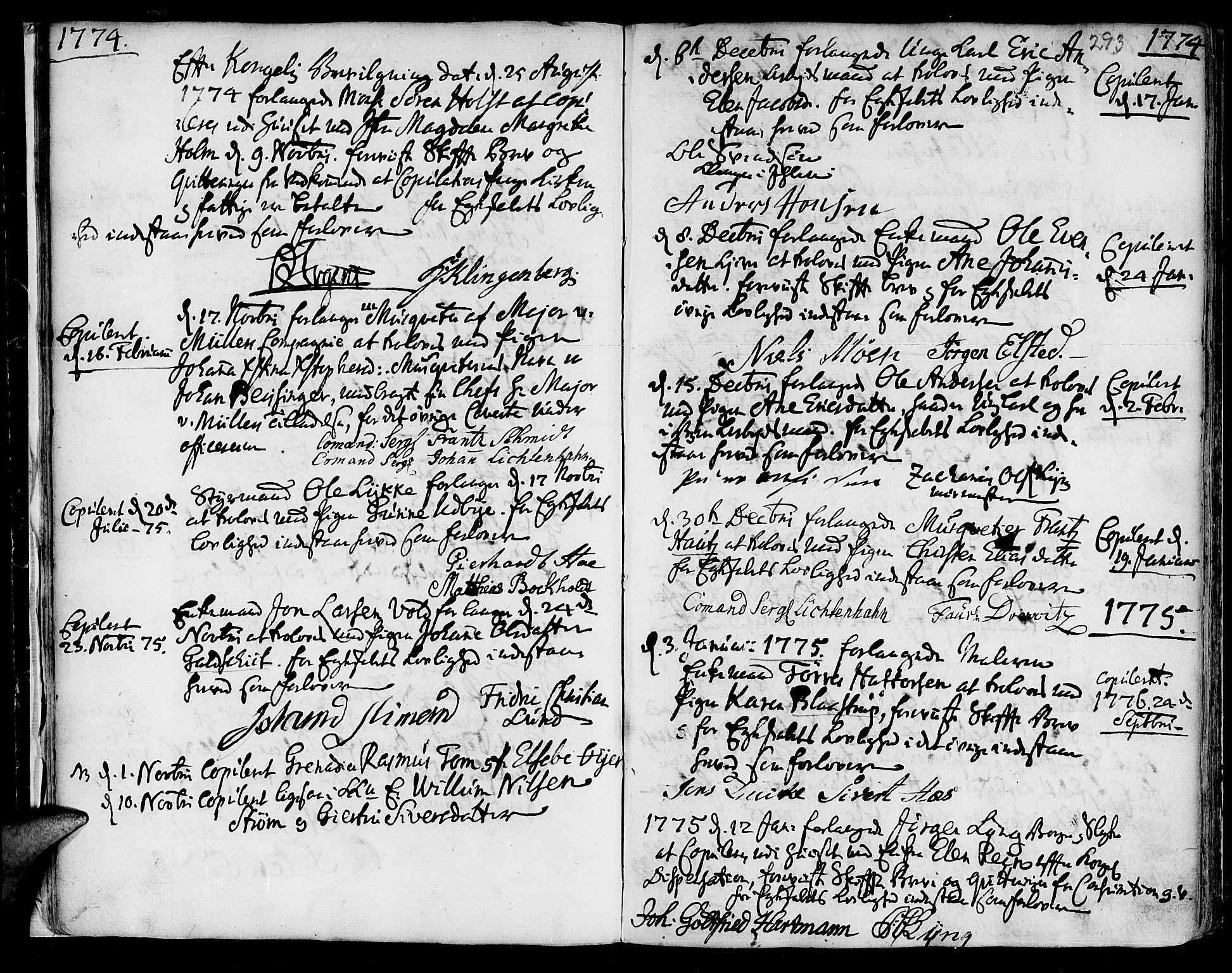 SAT, Ministerialprotokoller, klokkerbøker og fødselsregistre - Sør-Trøndelag, 601/L0038: Ministerialbok nr. 601A06, 1766-1877, s. 293