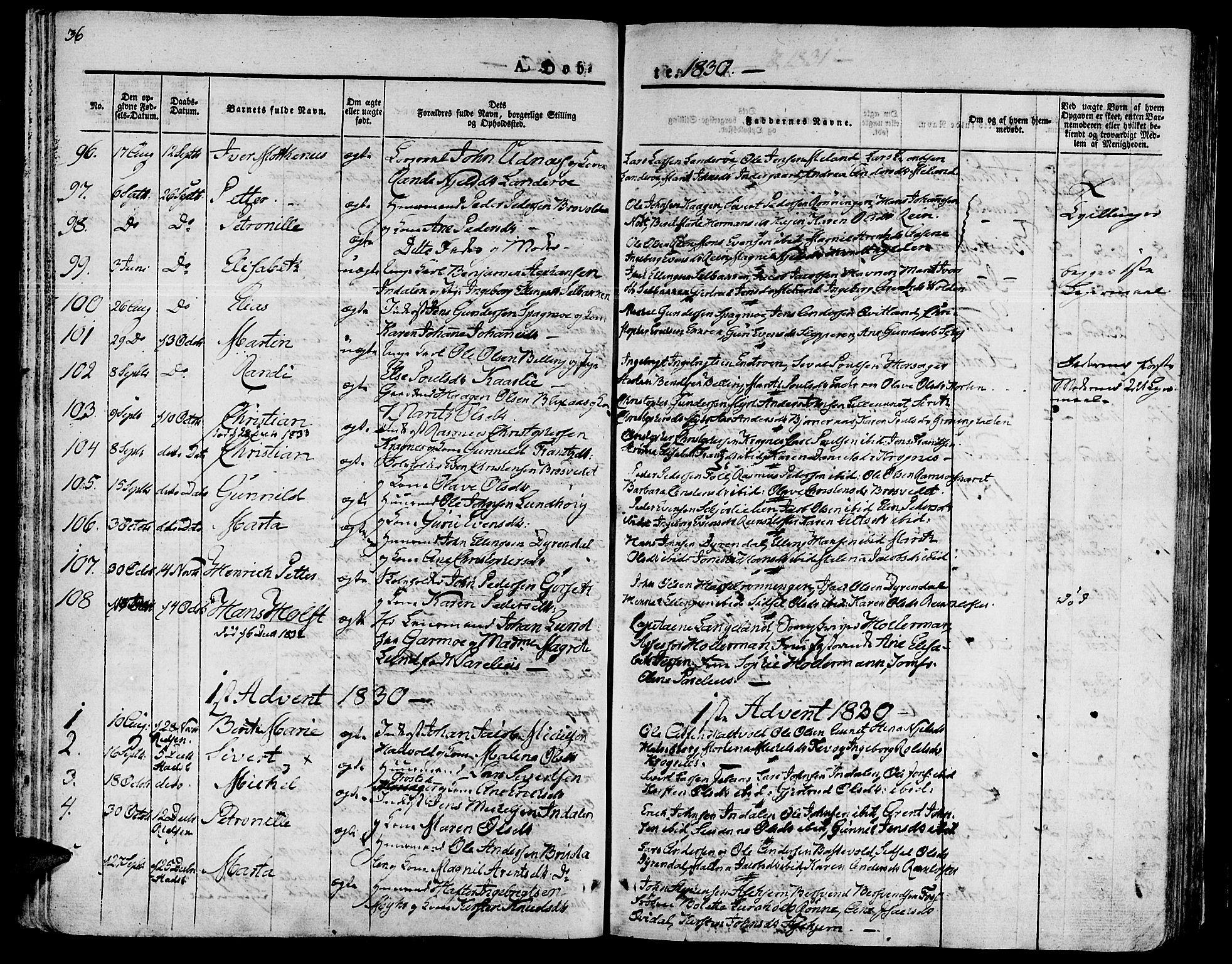 SAT, Ministerialprotokoller, klokkerbøker og fødselsregistre - Sør-Trøndelag, 646/L0609: Ministerialbok nr. 646A07, 1826-1838, s. 36