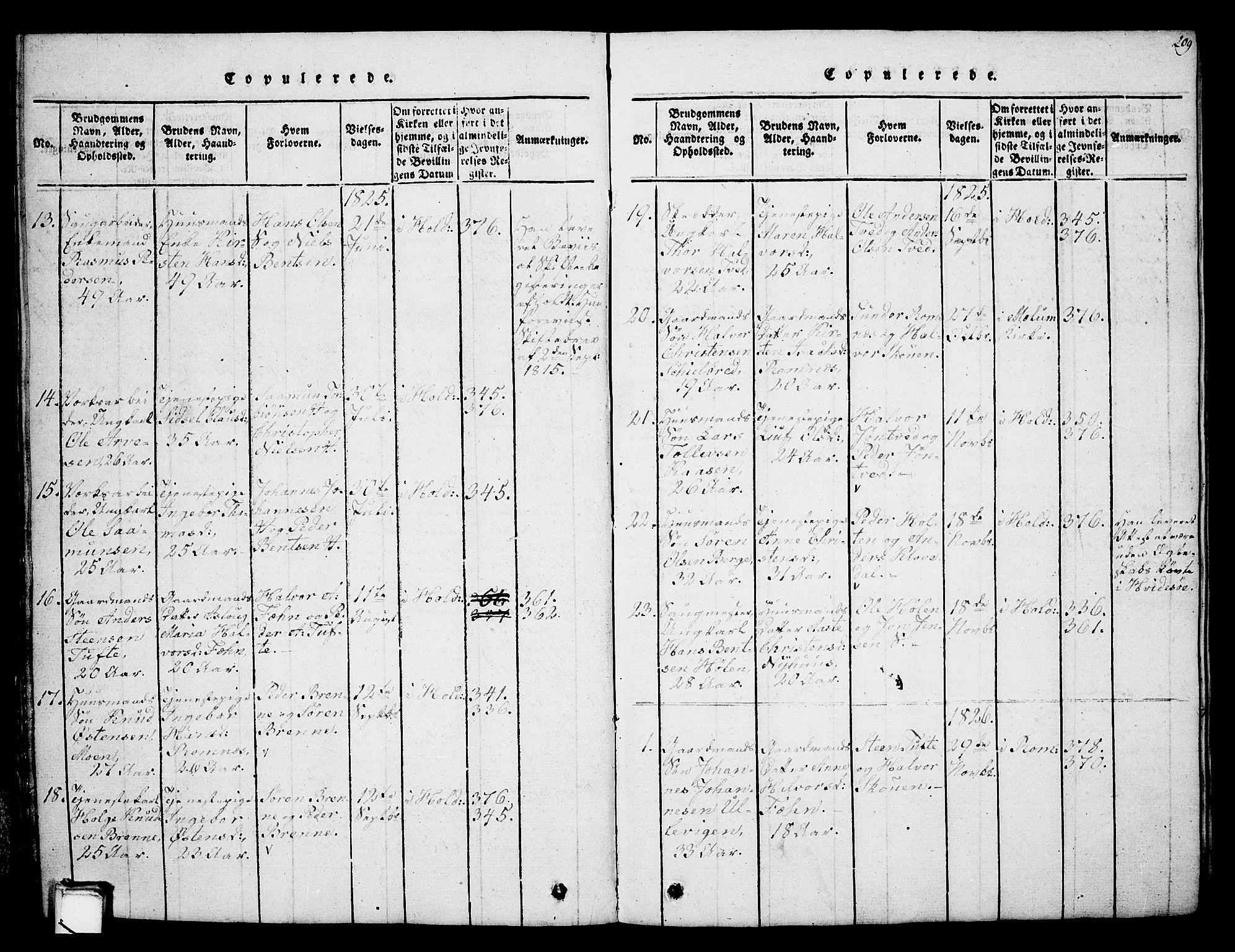 SAKO, Holla kirkebøker, G/Ga/L0001: Klokkerbok nr. I 1, 1814-1830, s. 209
