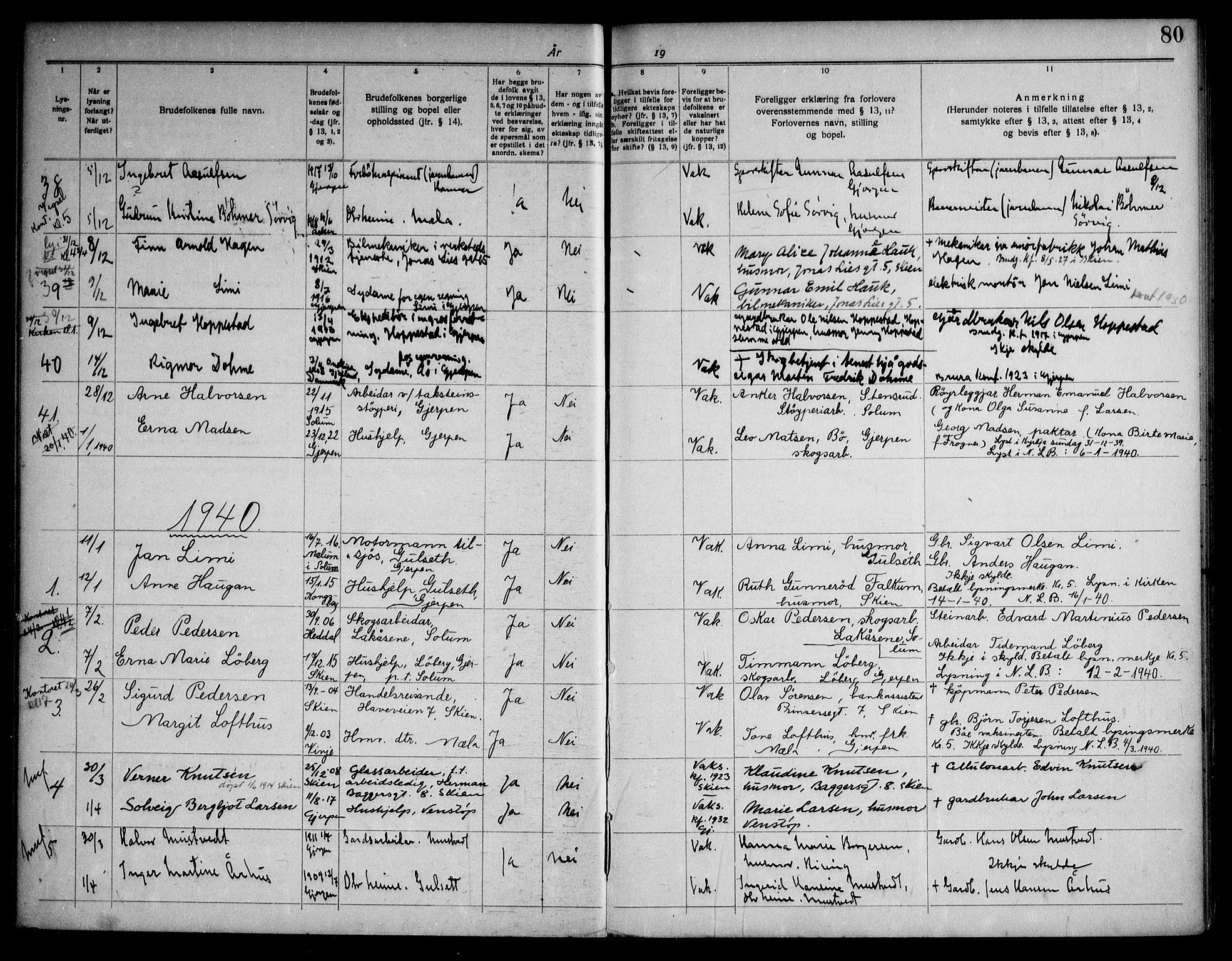 SAKO, Gjerpen kirkebøker, H/Ha/L0003: Lysningsprotokoll nr. I 3, 1919-1946, s. 80