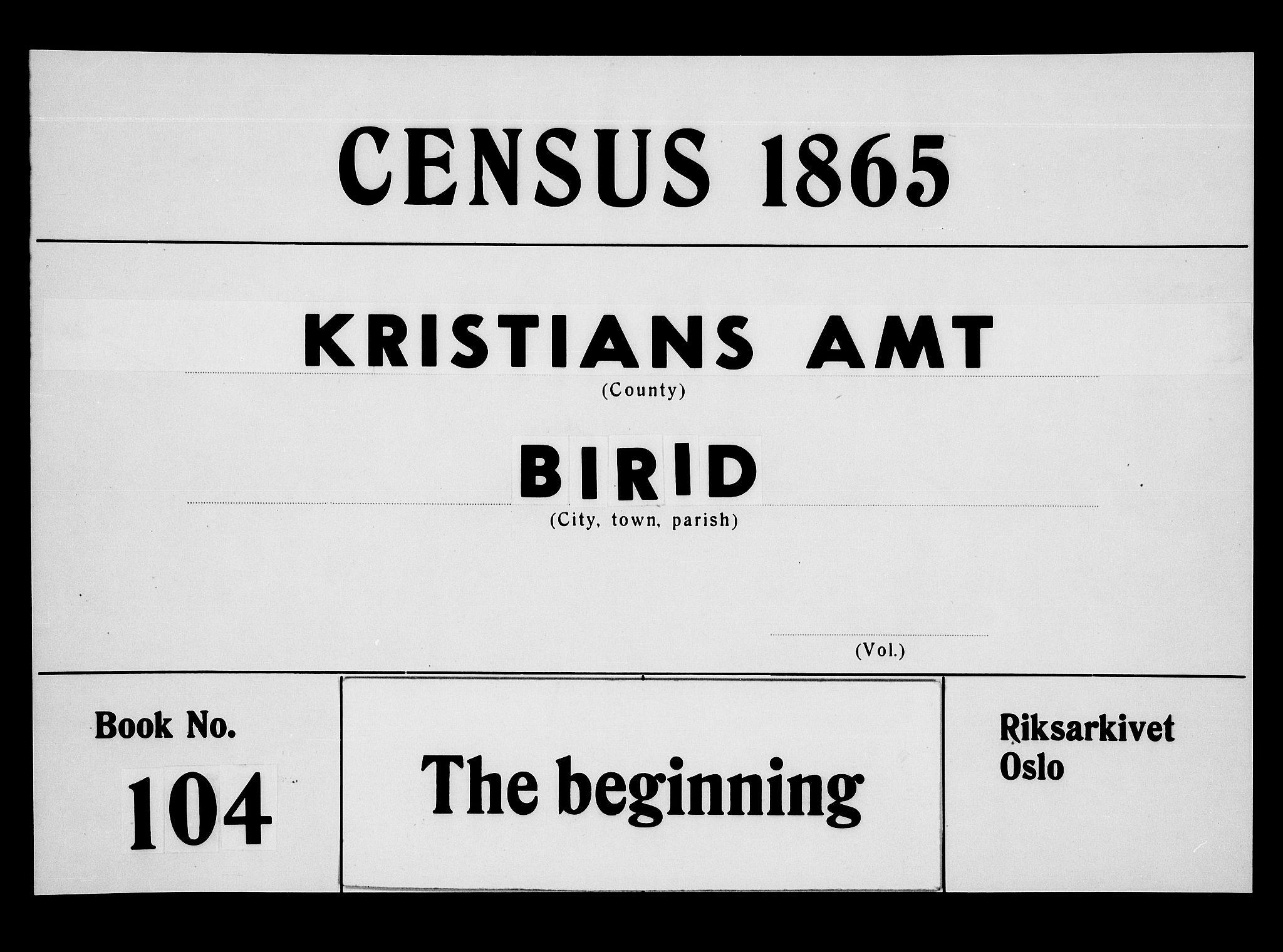 RA, Folketelling 1865 for 0525P Biri prestegjeld, 1865, s. 1