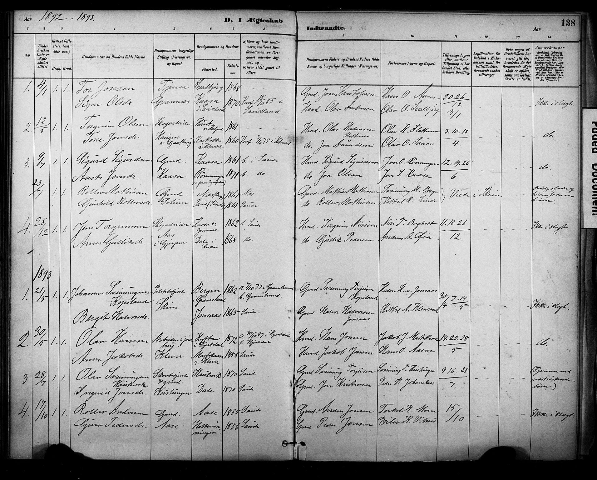 SAKO, Sauherad kirkebøker, F/Fa/L0009: Ministerialbok nr. I 9, 1887-1912, s. 138