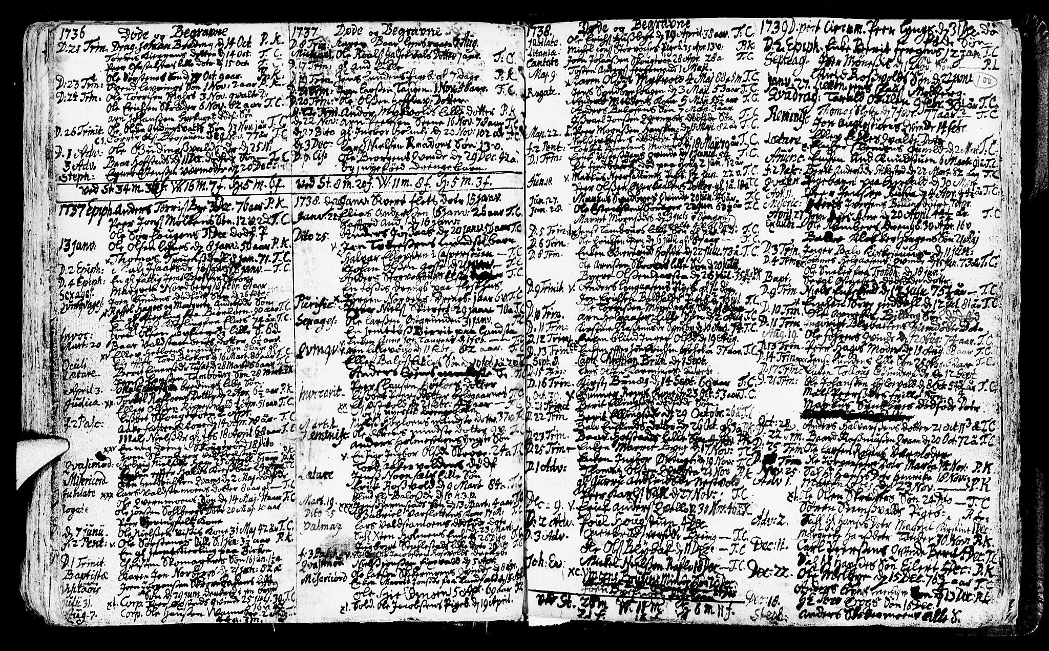 SAT, Ministerialprotokoller, klokkerbøker og fødselsregistre - Nord-Trøndelag, 723/L0230: Ministerialbok nr. 723A01, 1705-1747, s. 100