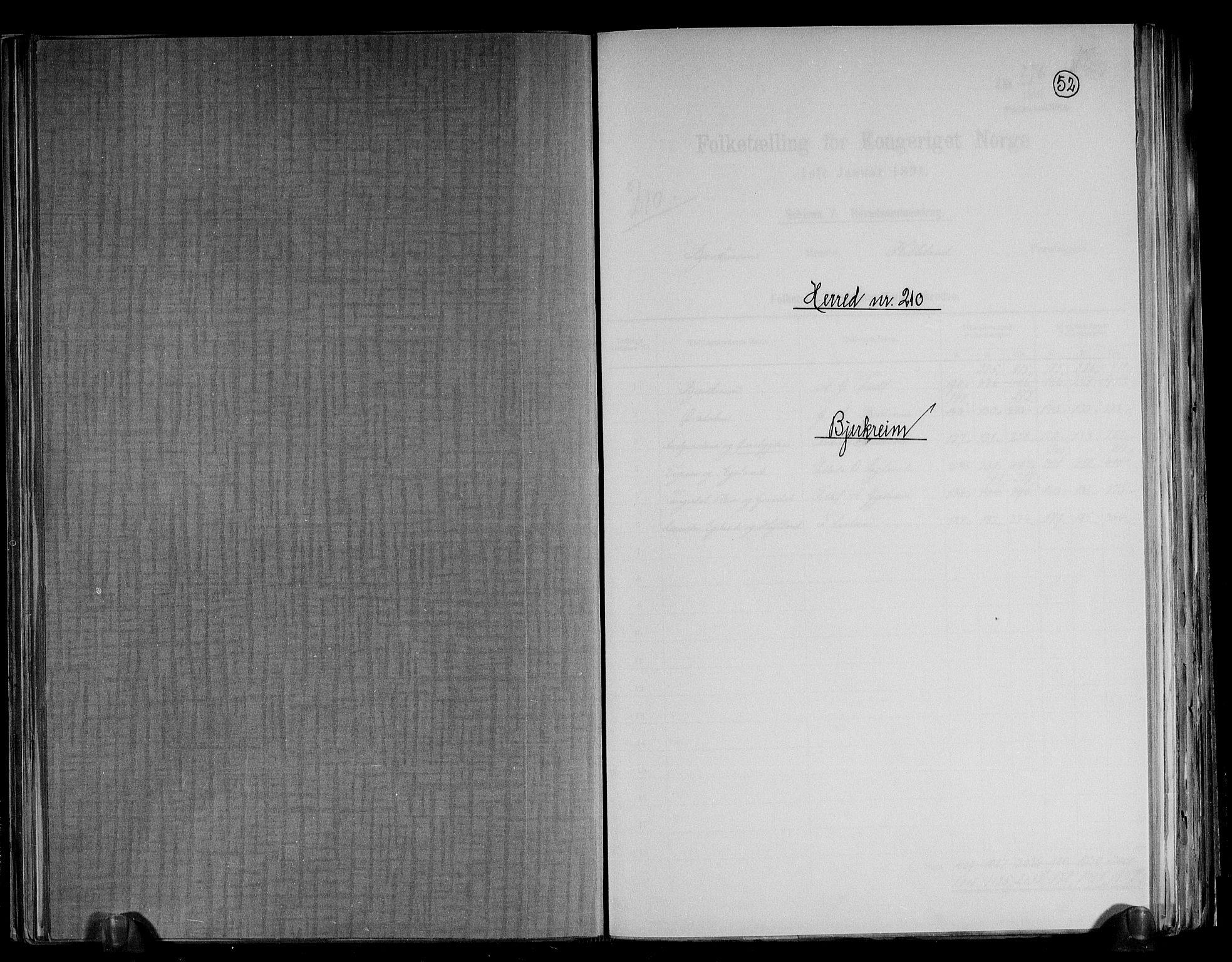 RA, Folketelling 1891 for 1114 Bjerkreim herred, 1891, s. 1