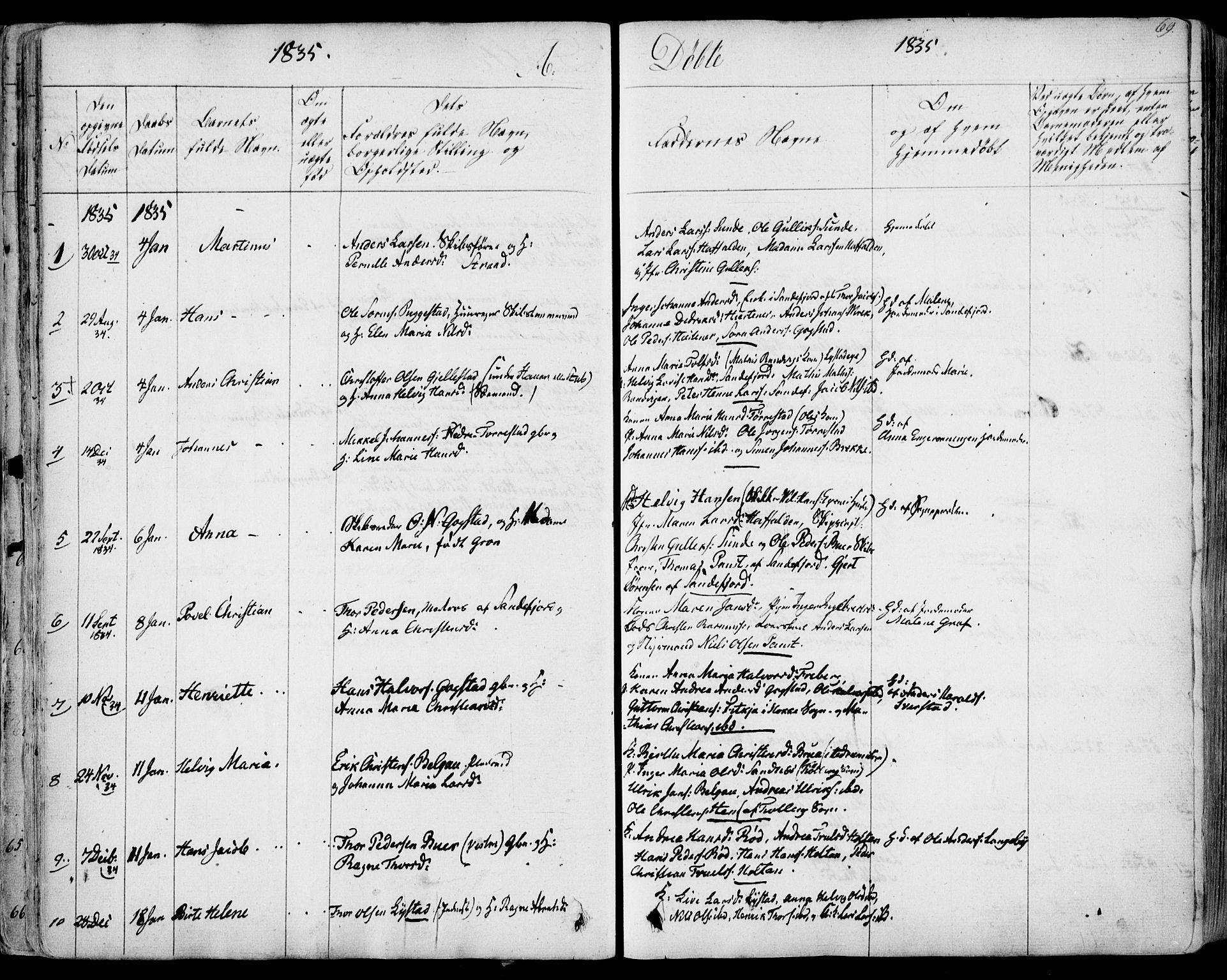 SAKO, Sandar kirkebøker, F/Fa/L0005: Ministerialbok nr. 5, 1832-1847, s. 68-69