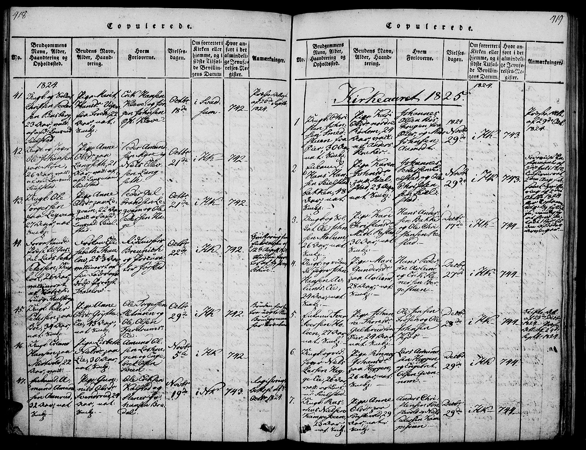 SAH, Gausdal prestekontor, Ministerialbok nr. 5, 1817-1829, s. 418-419