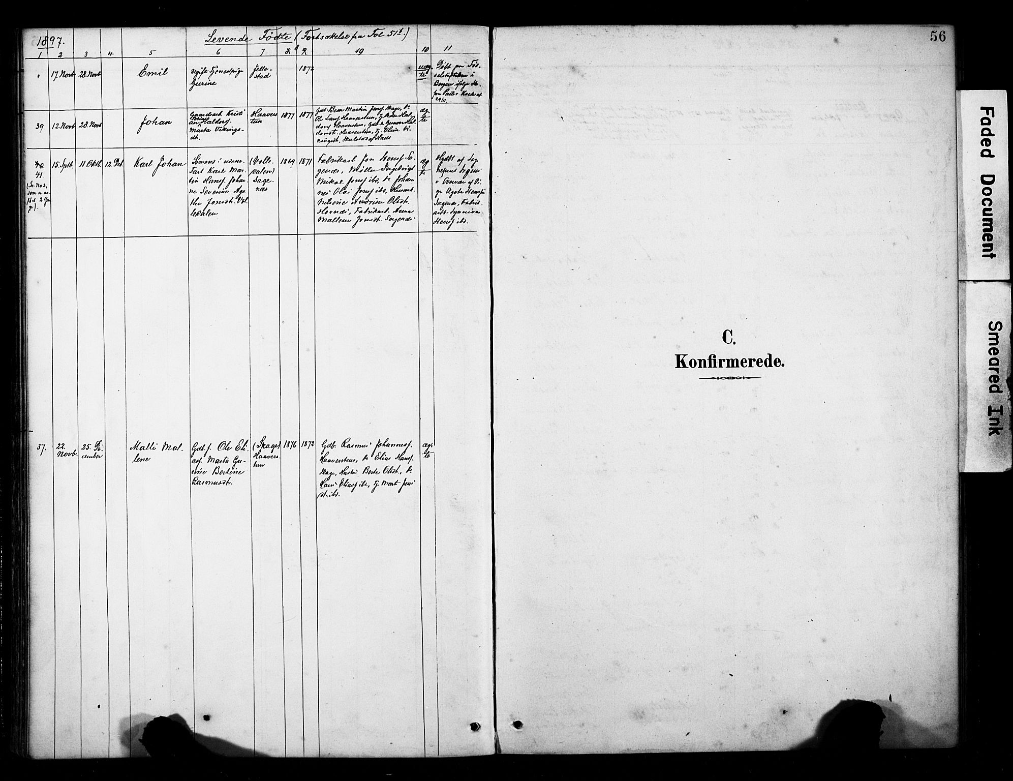 SAB, Fana Sokneprestembete, H/Haa/Haab/L0002: Ministerialbok nr. B 2, 1890-1897, s. 56