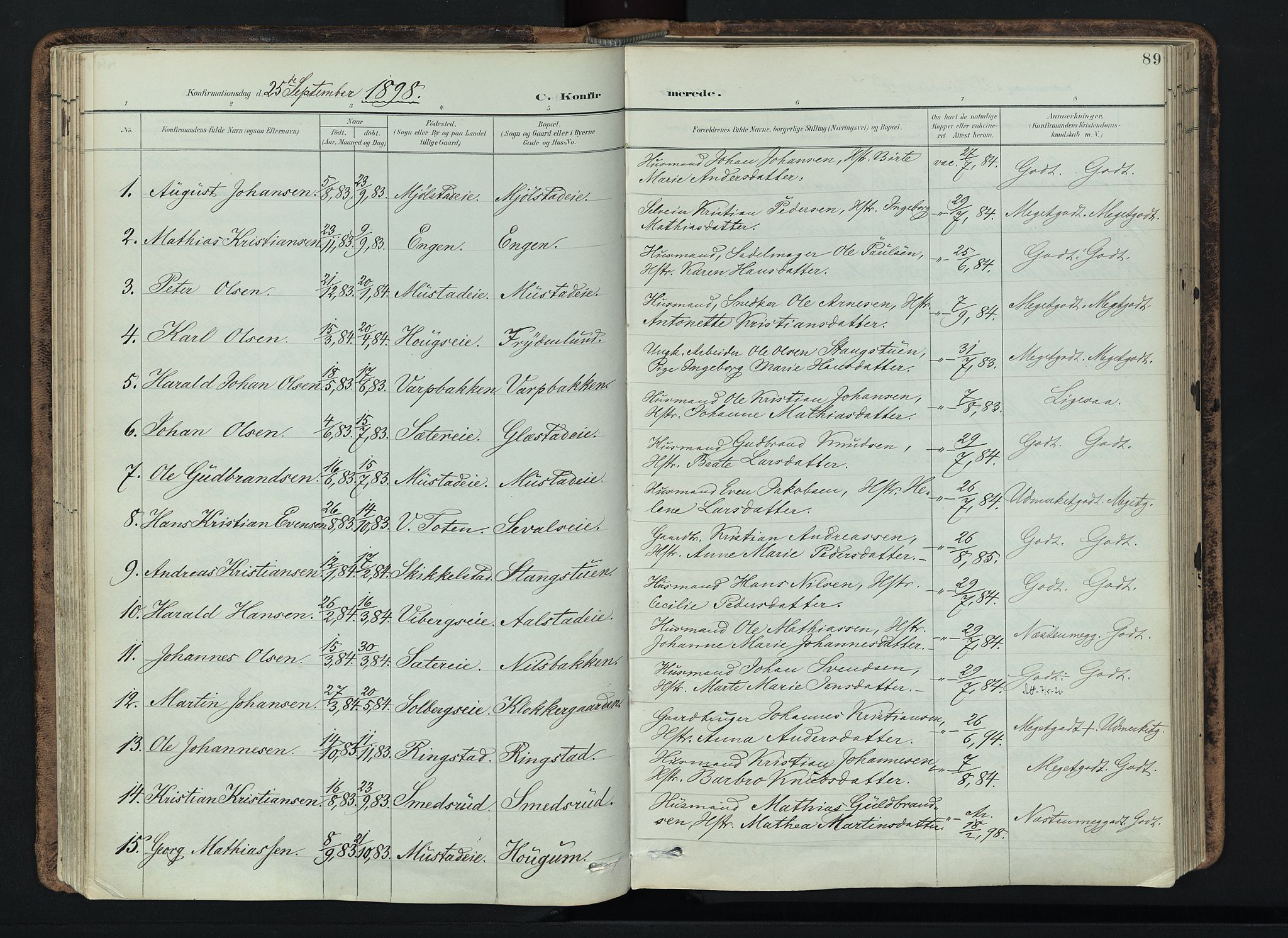 SAH, Vardal prestekontor, H/Ha/Haa/L0019: Ministerialbok nr. 19, 1893-1907, s. 89