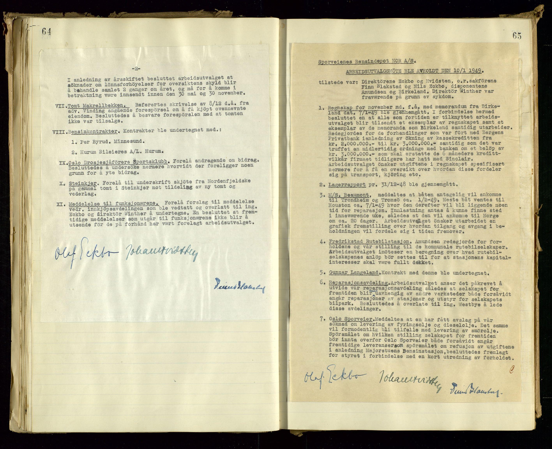 SAST, PA 1514 - Sporveienes Bensindepot, Norsk Oljeraffineri A/S, A/L0001: Styreprotokoll. Forhandlingsprotokoll Arbeidsutvaget, 1946-1951, s. 40