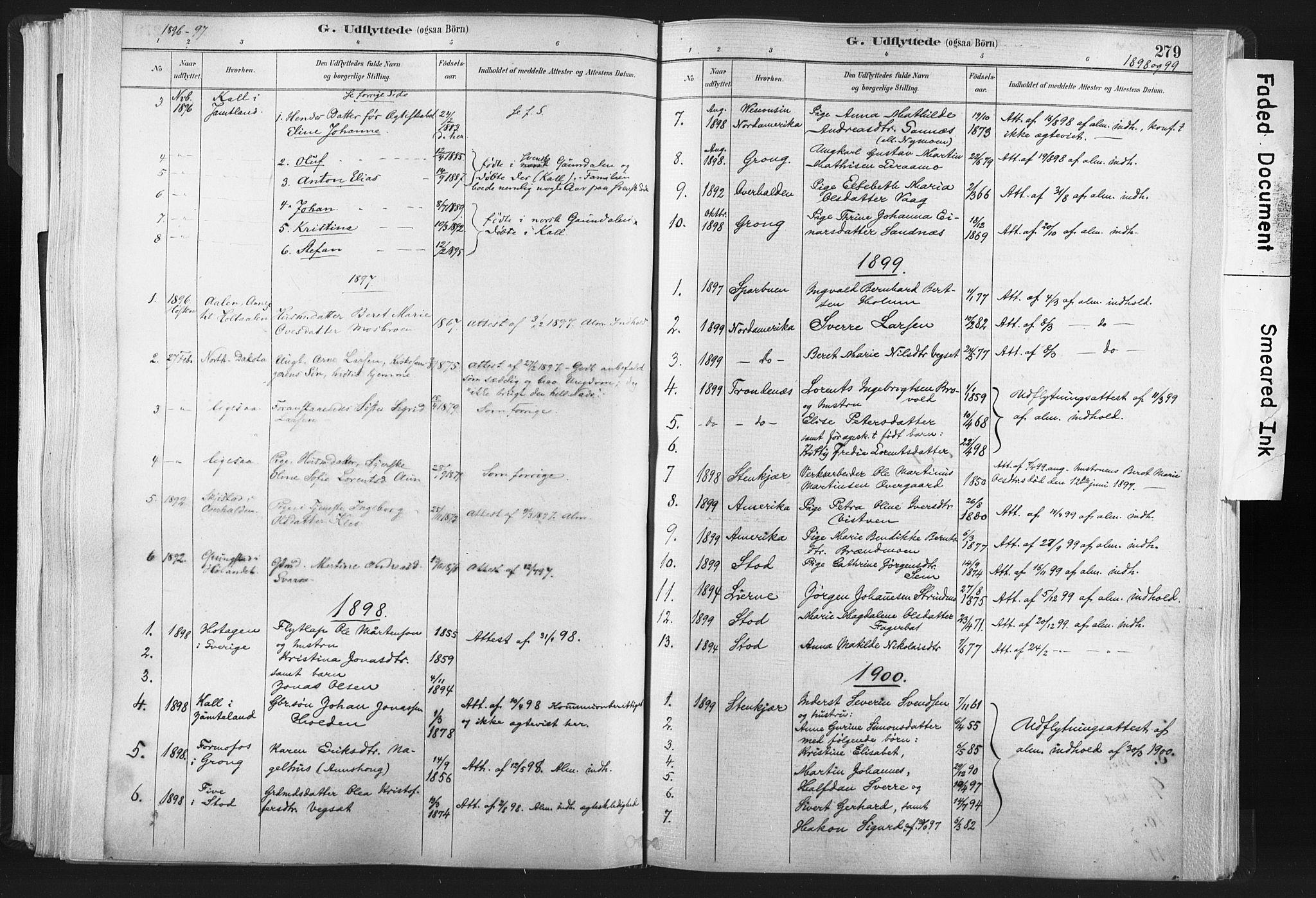 SAT, Ministerialprotokoller, klokkerbøker og fødselsregistre - Nord-Trøndelag, 749/L0474: Ministerialbok nr. 749A08, 1887-1903, s. 279
