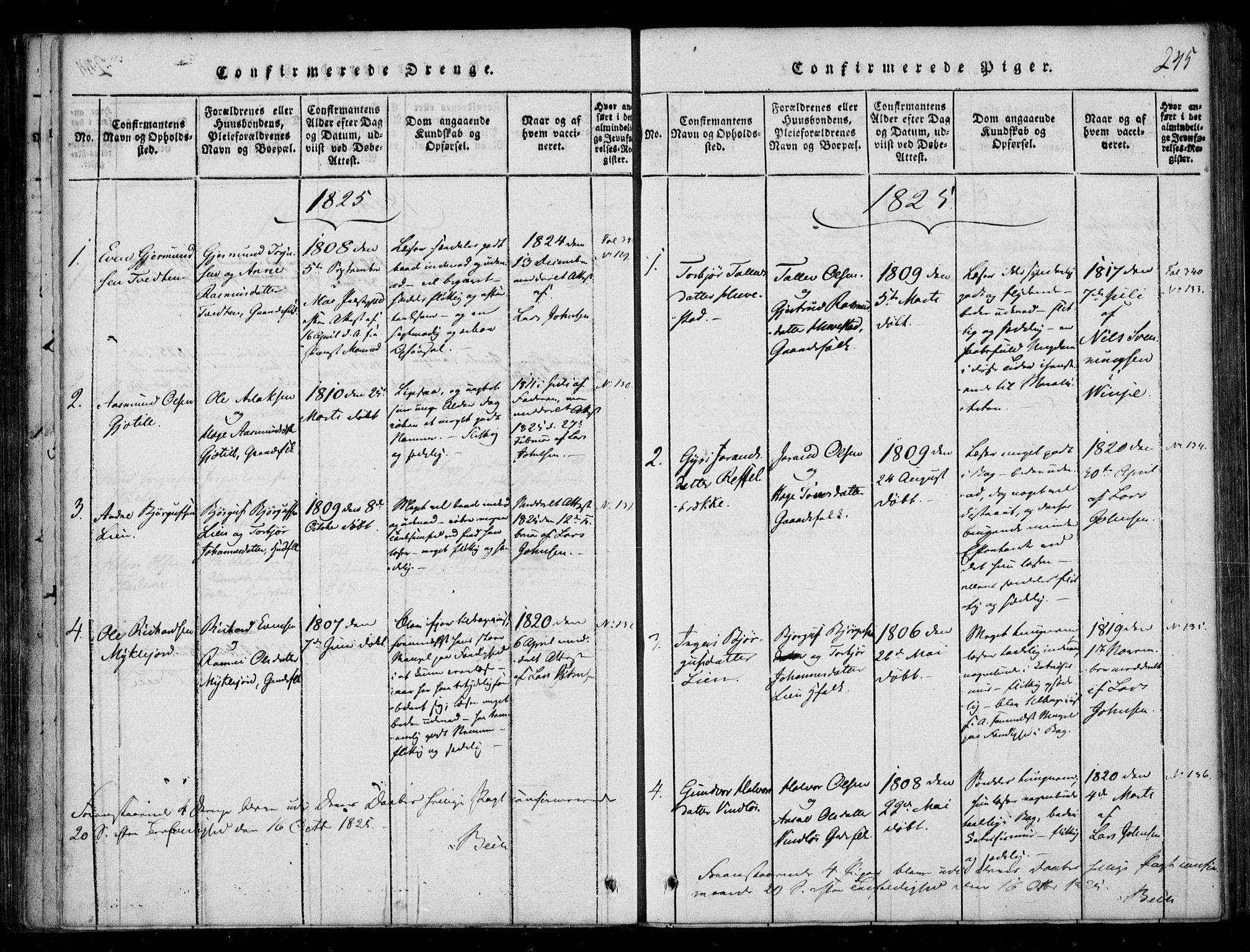 SAKO, Lårdal kirkebøker, F/Fb/L0001: Ministerialbok nr. II 1, 1815-1860, s. 245