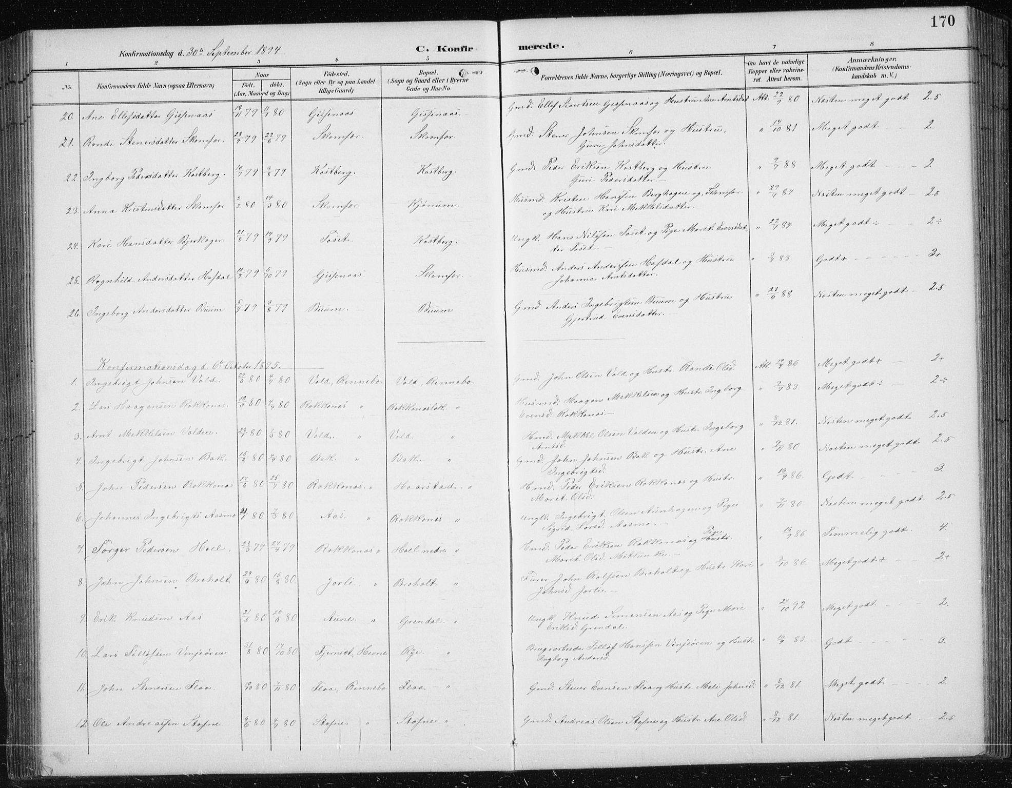 SAT, Ministerialprotokoller, klokkerbøker og fødselsregistre - Sør-Trøndelag, 674/L0876: Klokkerbok nr. 674C03, 1892-1912, s. 170