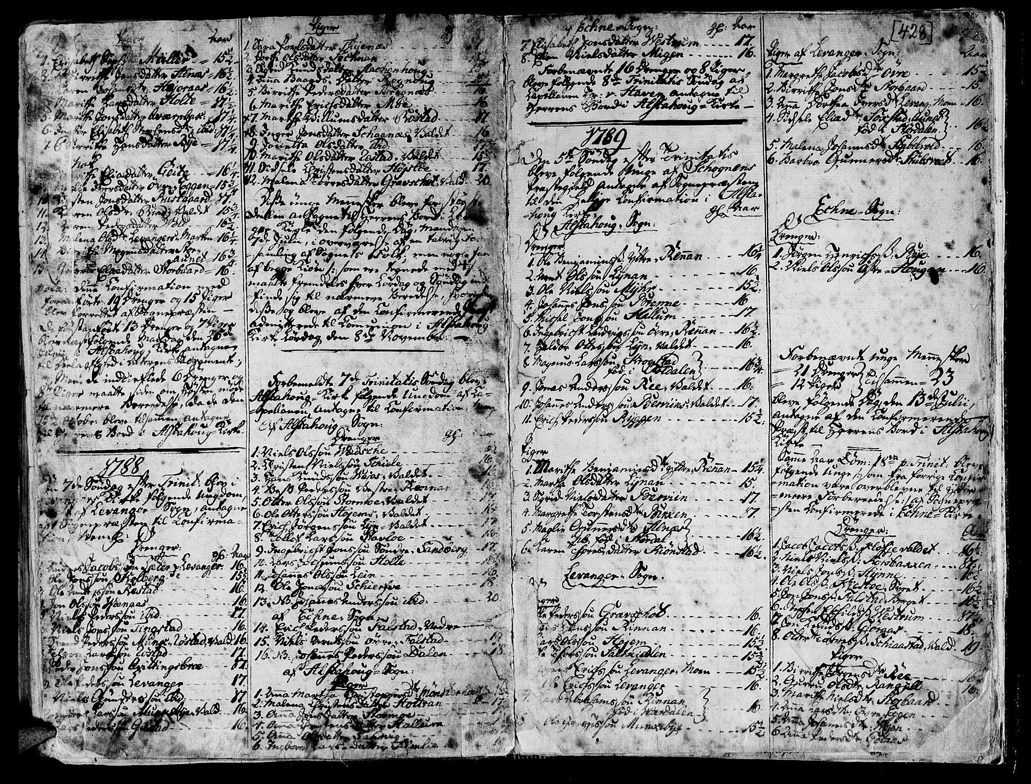 SAT, Ministerialprotokoller, klokkerbøker og fødselsregistre - Nord-Trøndelag, 717/L0141: Ministerialbok nr. 717A01, 1747-1803, s. 427-428