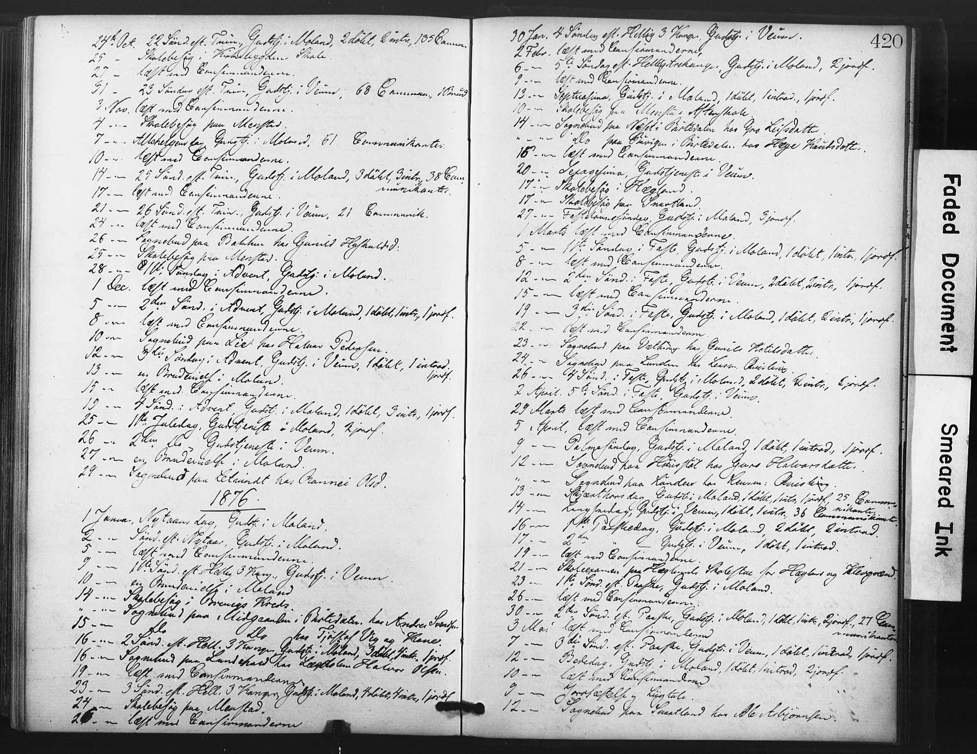 SAKO, Fyresdal kirkebøker, F/Fa/L0006: Ministerialbok nr. I 6, 1872-1886, s. 420