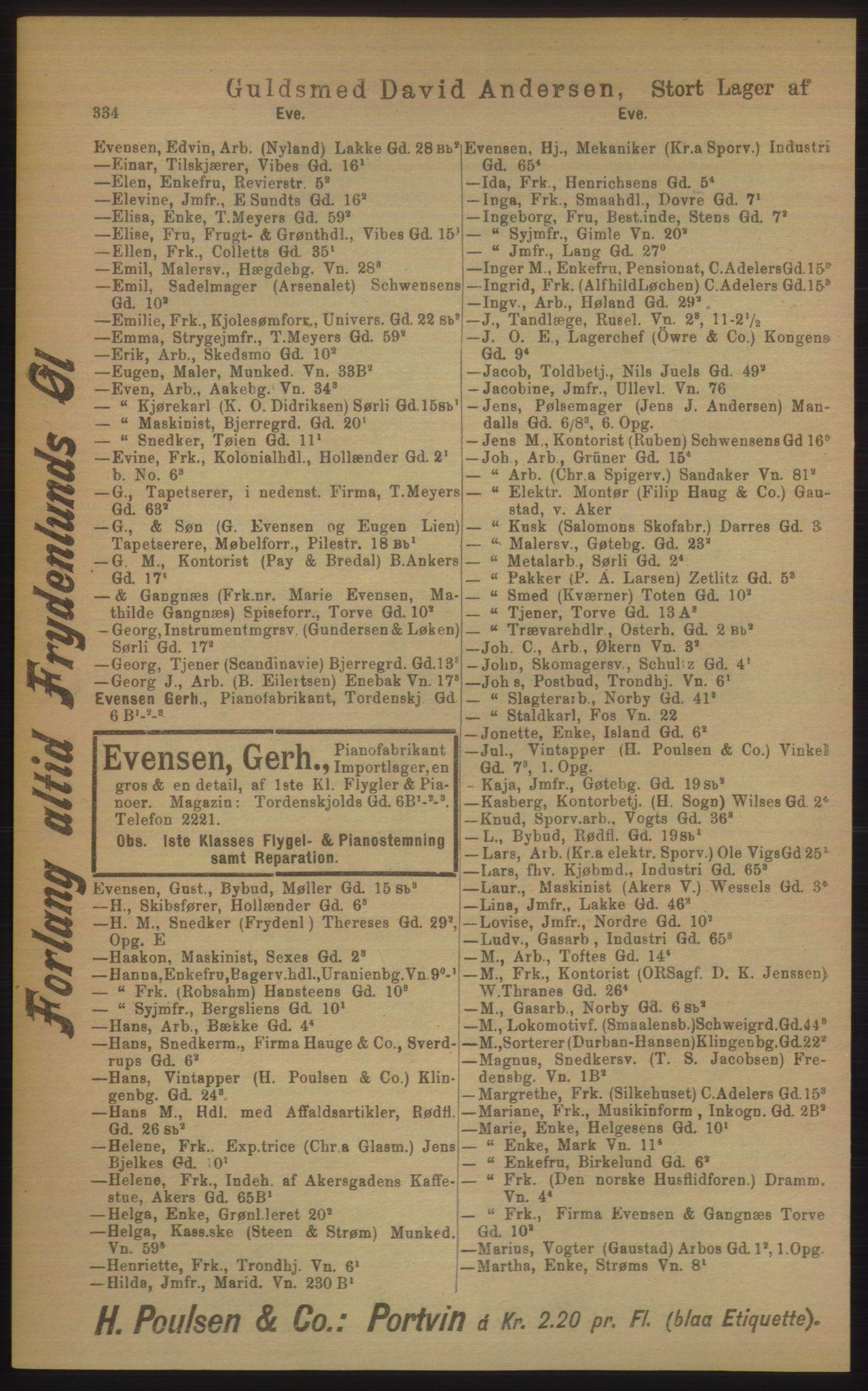 PUBL, Kristiania/Oslo adressebok, 1906, s. 334