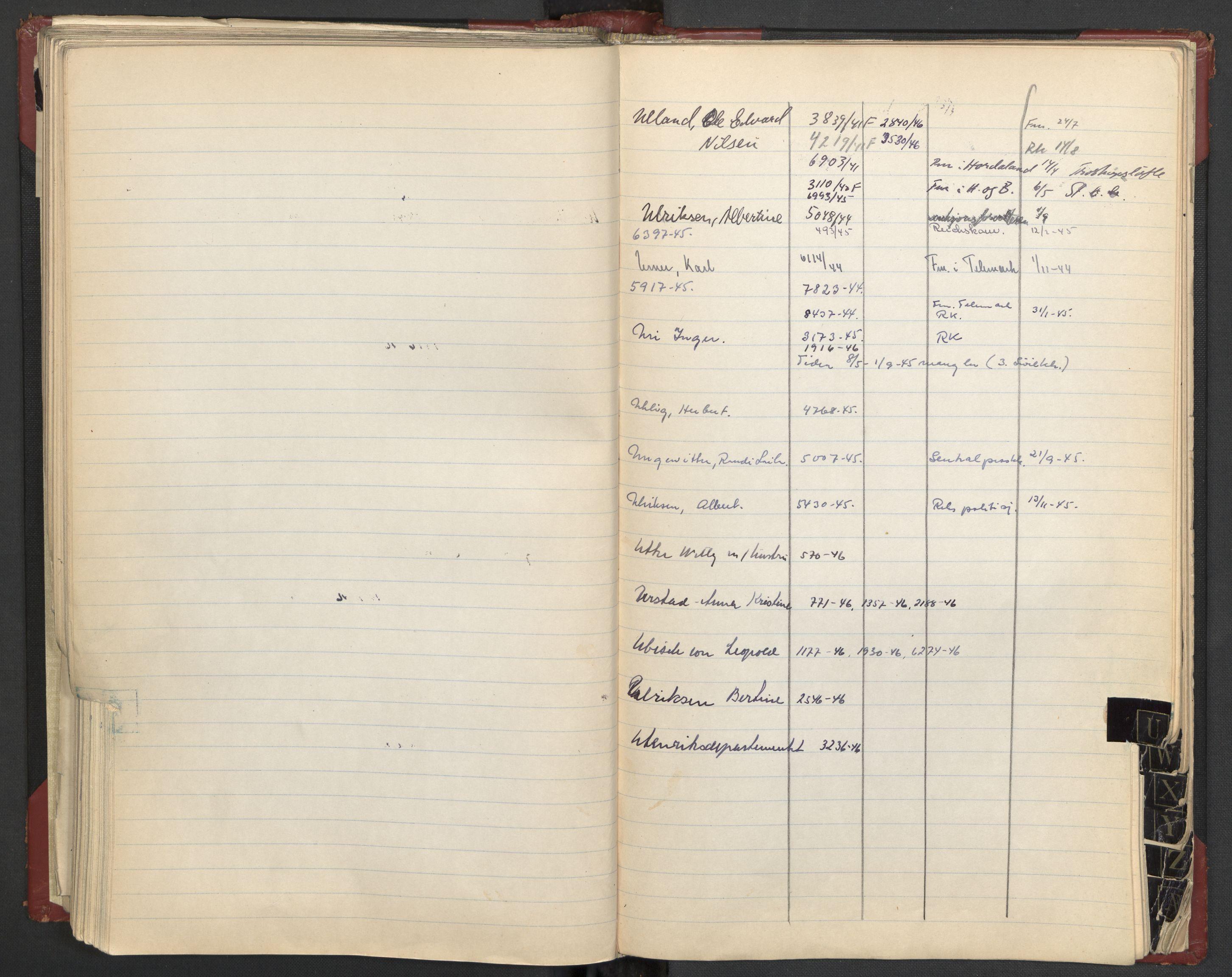 RA, Justisdepartementet, 3. politikontor P3, C/Cc/L0002: Journalregister over statsborgersaker, 1940-1946, s. 104
