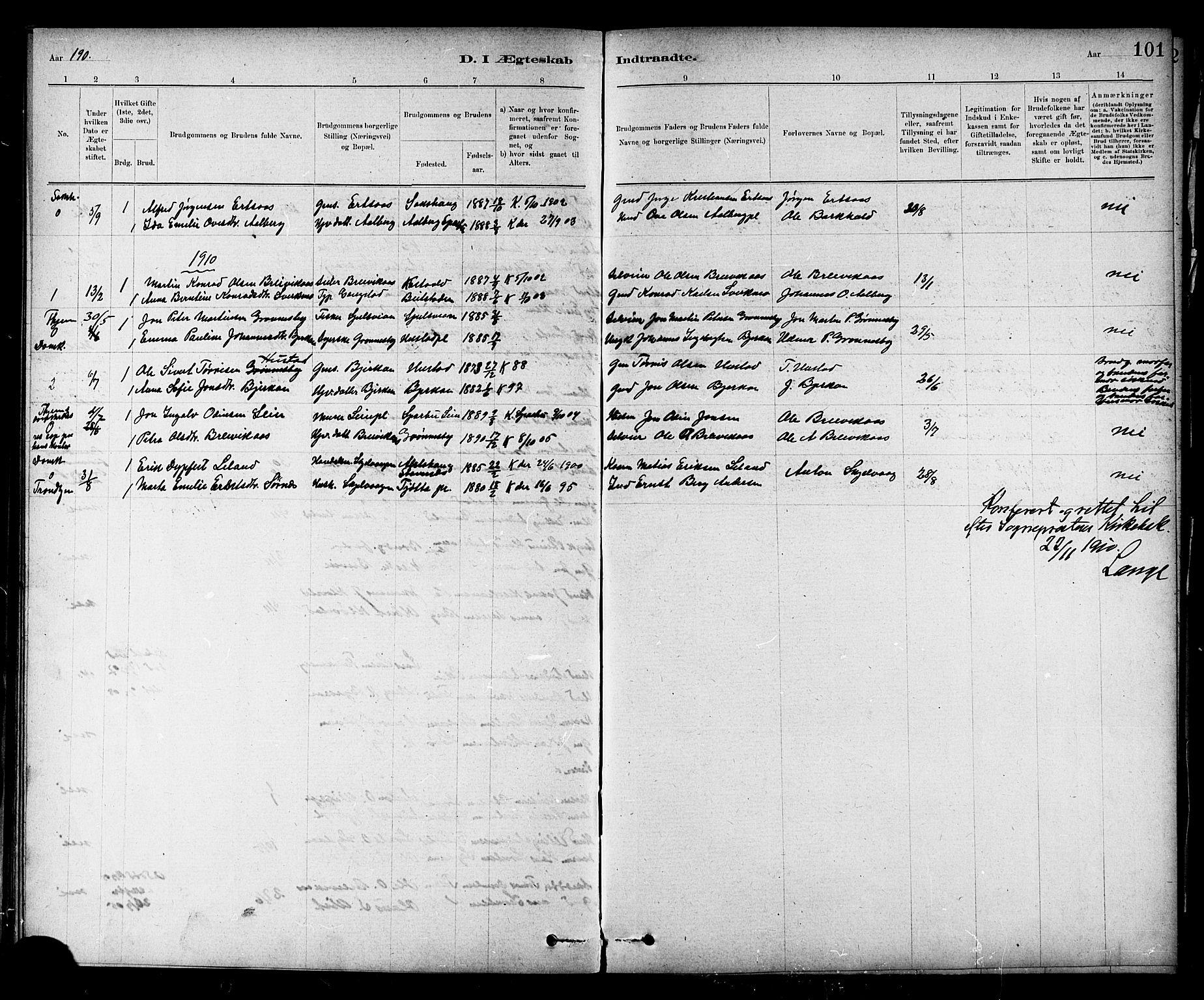 SAT, Ministerialprotokoller, klokkerbøker og fødselsregistre - Nord-Trøndelag, 732/L0318: Klokkerbok nr. 732C02, 1881-1911, s. 101