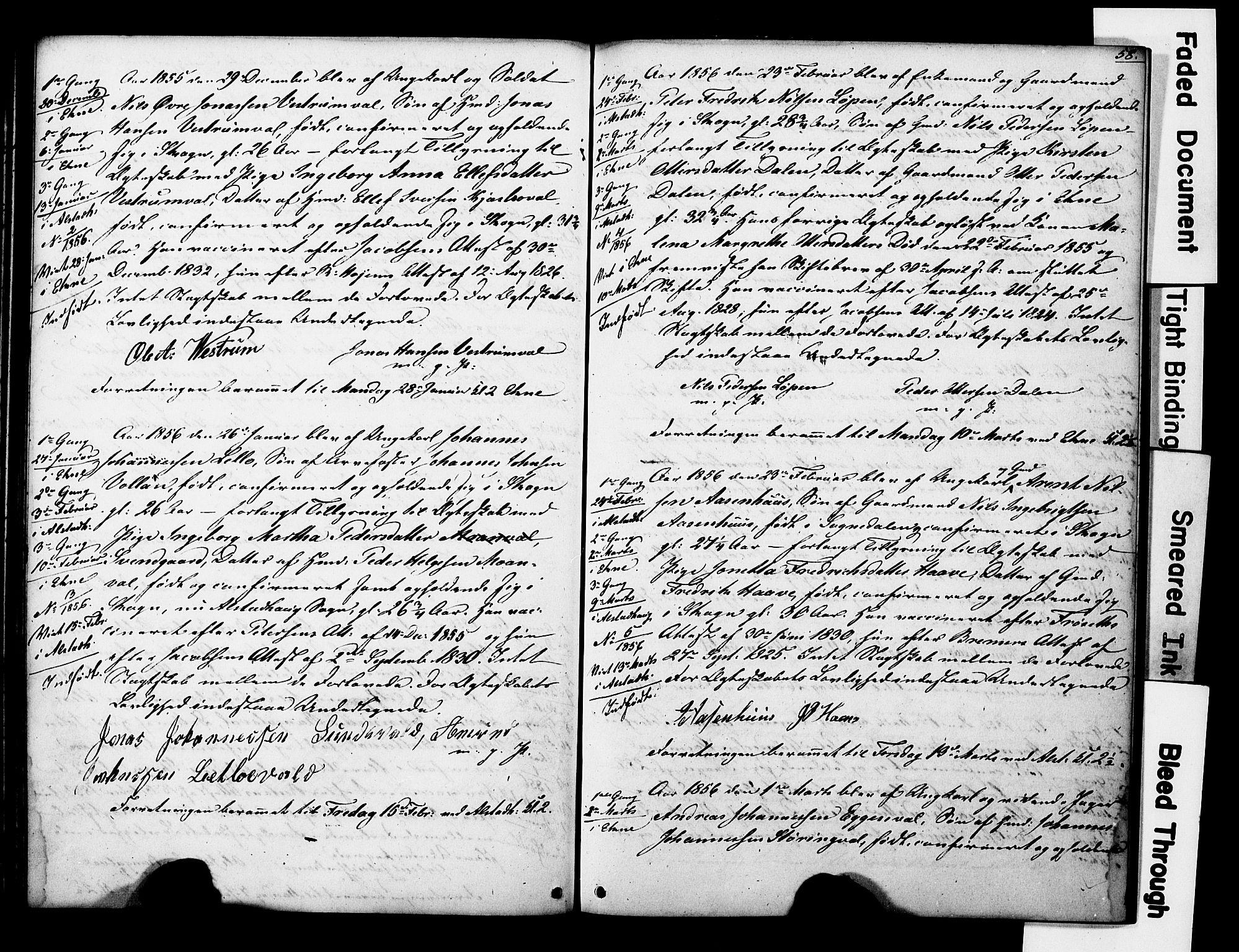 SAT, Ministerialprotokoller, klokkerbøker og fødselsregistre - Nord-Trøndelag, 717/L0161: Forlovererklæringer nr. 717A11, 1850-1895, s. 58